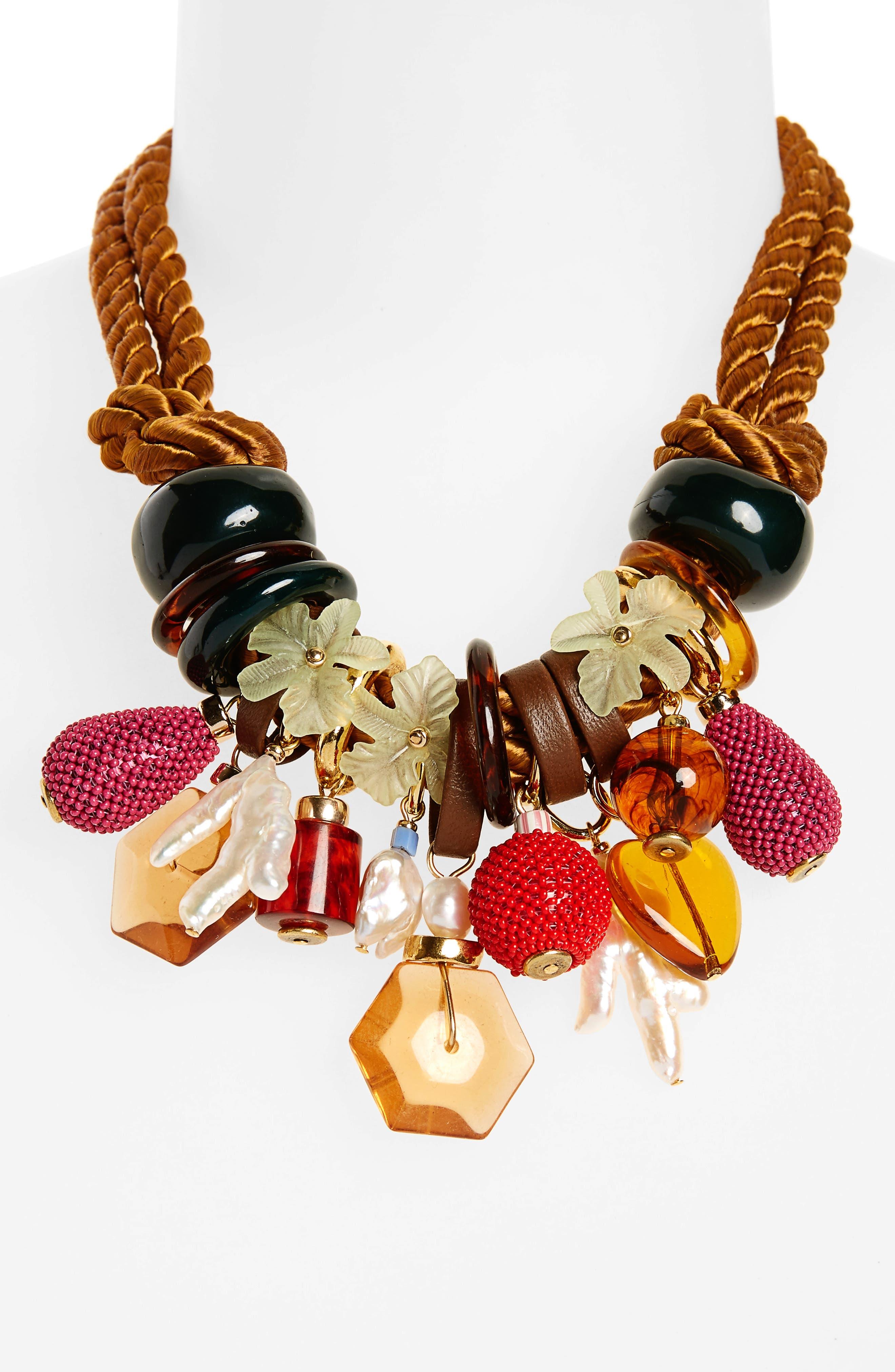 Tropicana Charm Necklace,                             Alternate thumbnail 2, color,                             Tan/ Multi Charms