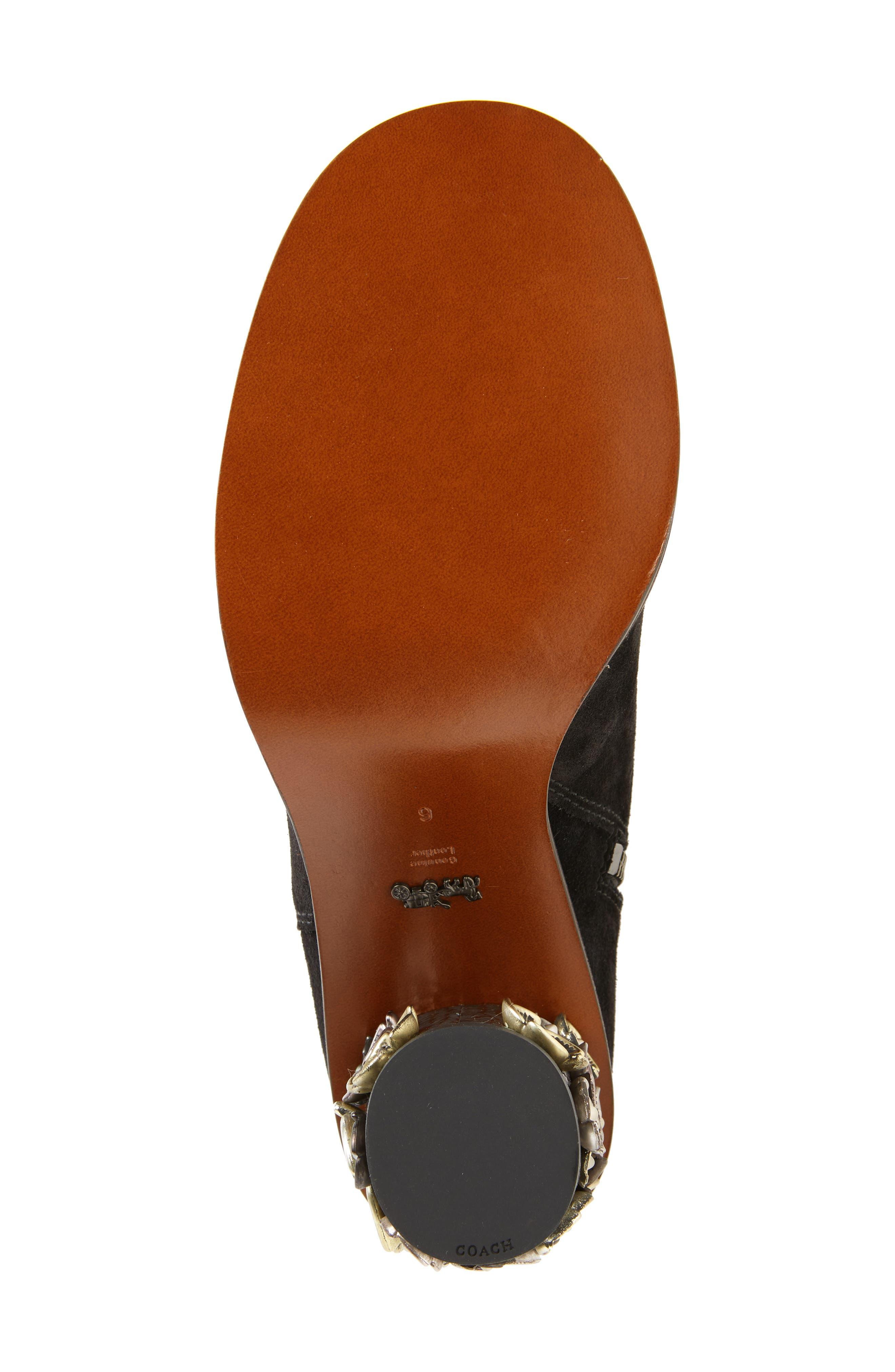 Tea Rose Heel Boot,                             Alternate thumbnail 6, color,                             Black Leather