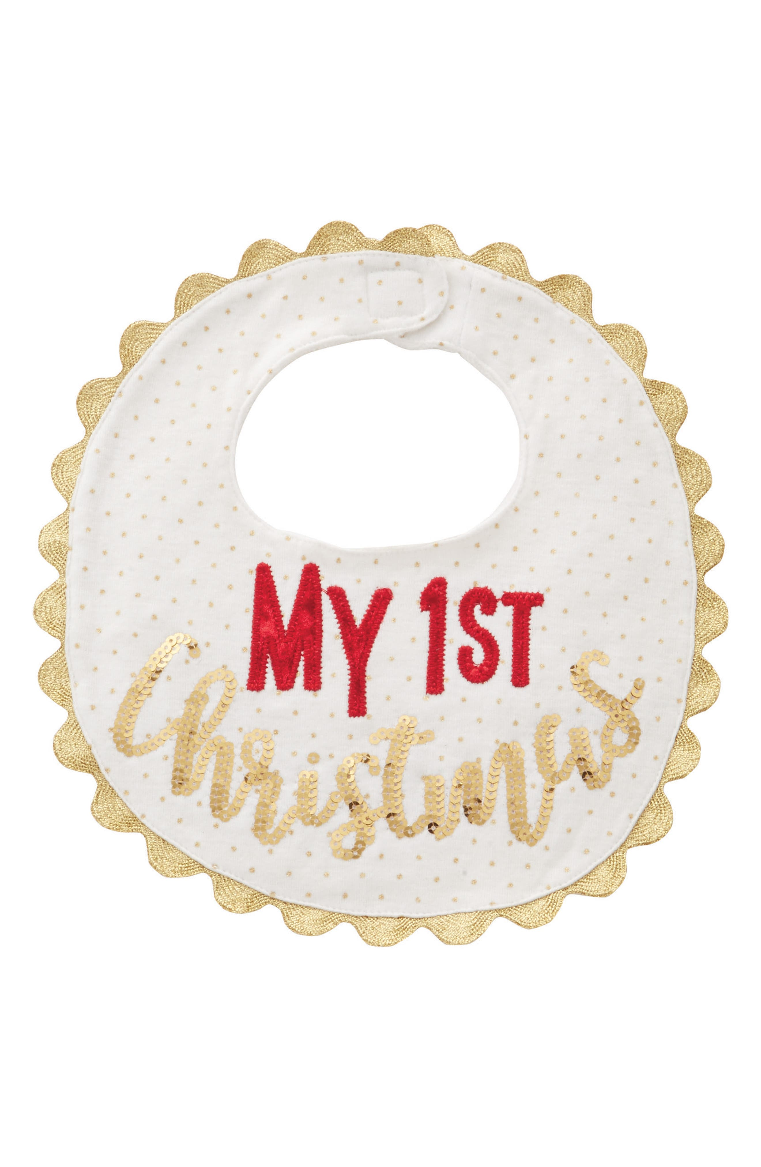 My First Christmas Bib,                         Main,                         color, Gold/ Red
