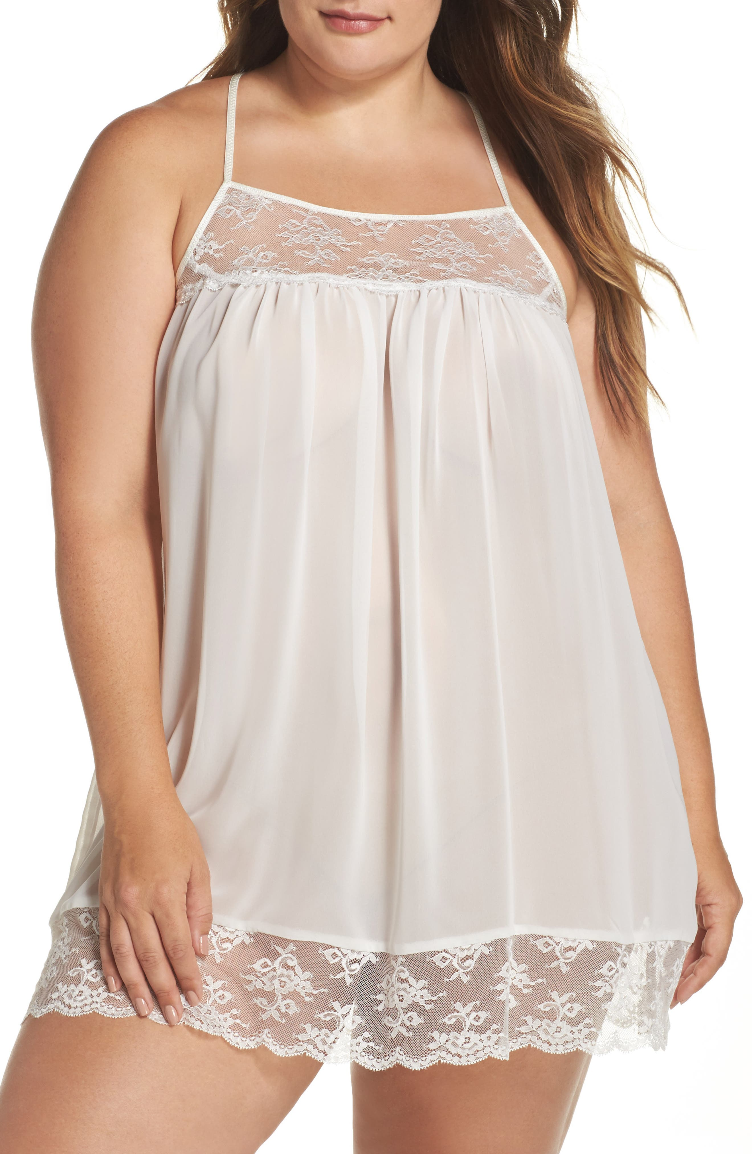 Chiffon Chemise,                         Main,                         color, Ivory