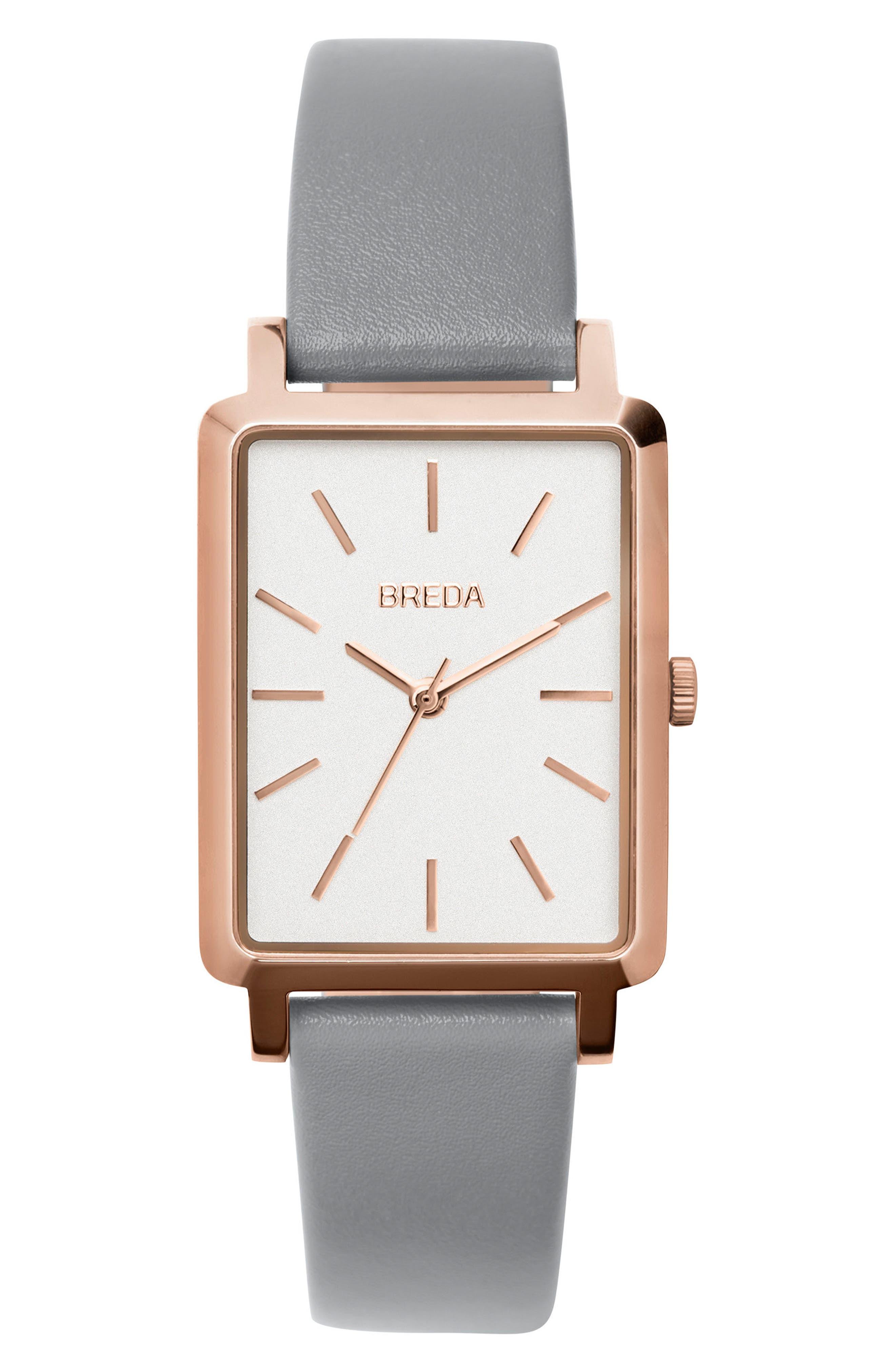 Main Image - BREDA Baer Rectangular Leather Strap Watch, 26mm