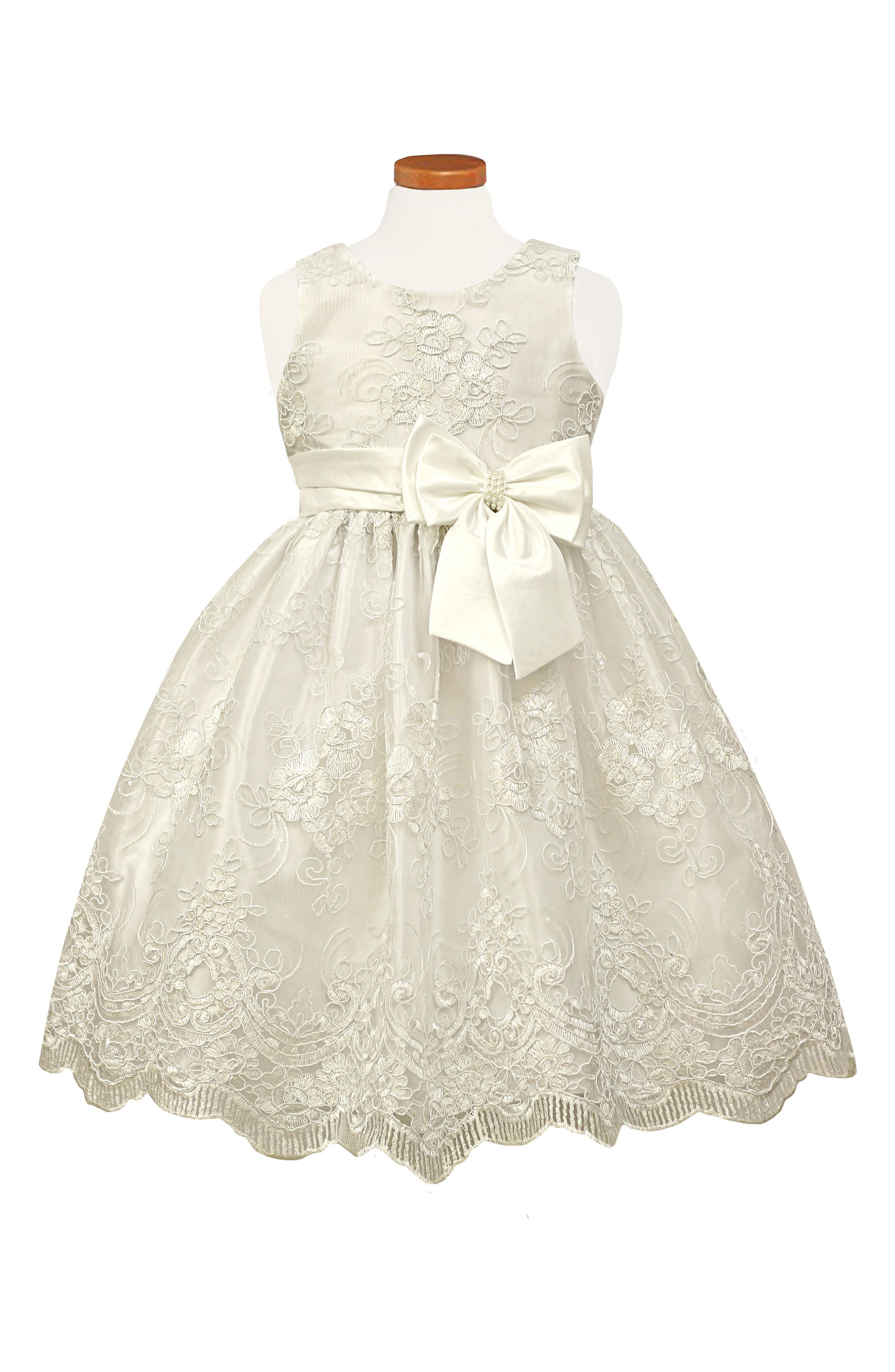 Embroidered Fit & Flare Dress,                         Main,                         color, White