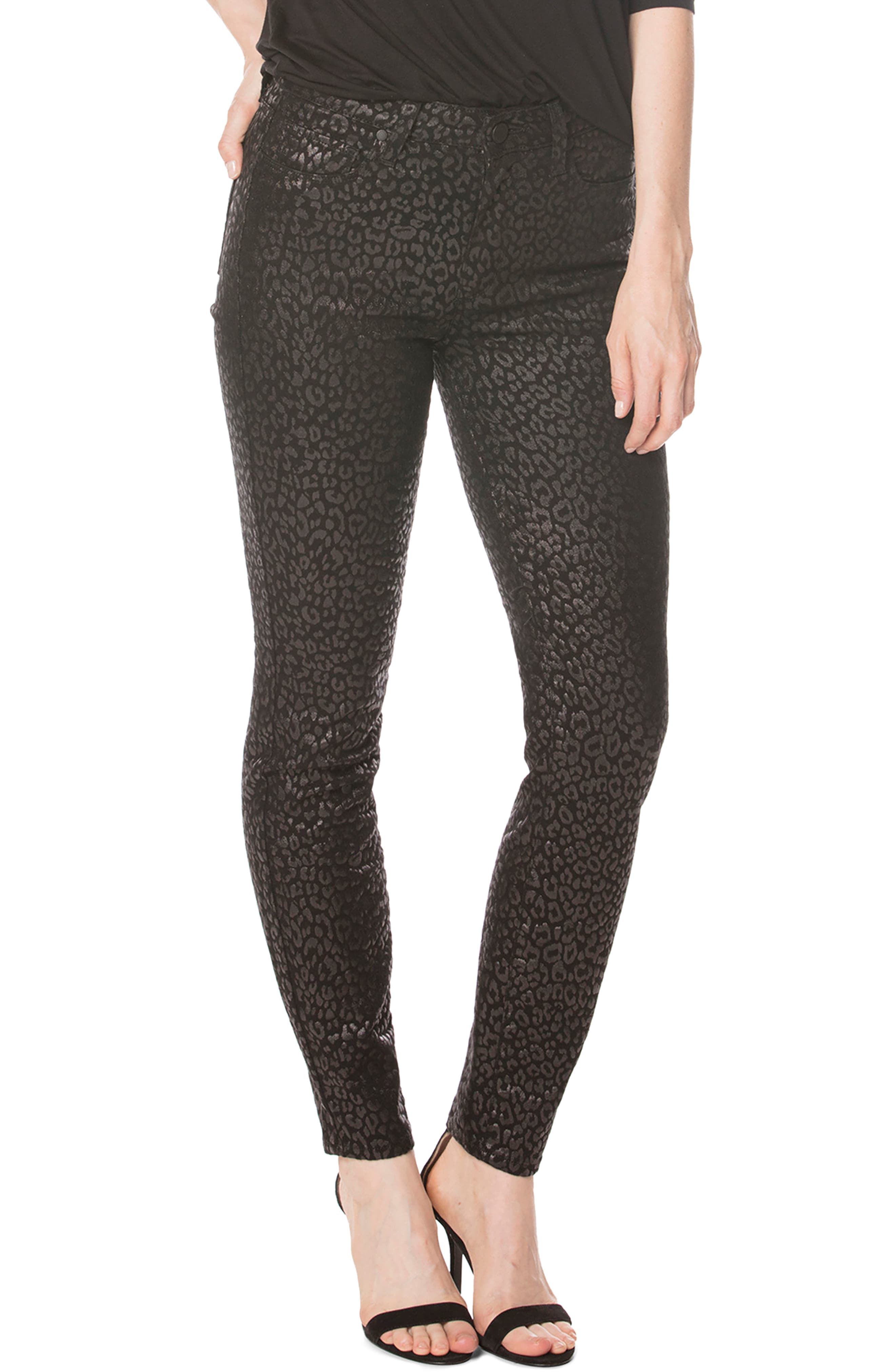 Alternate Image 1 Selected - PAIGE Hoxton High Waist Ultra Skinny Pants (Metallic Leopard Noir)