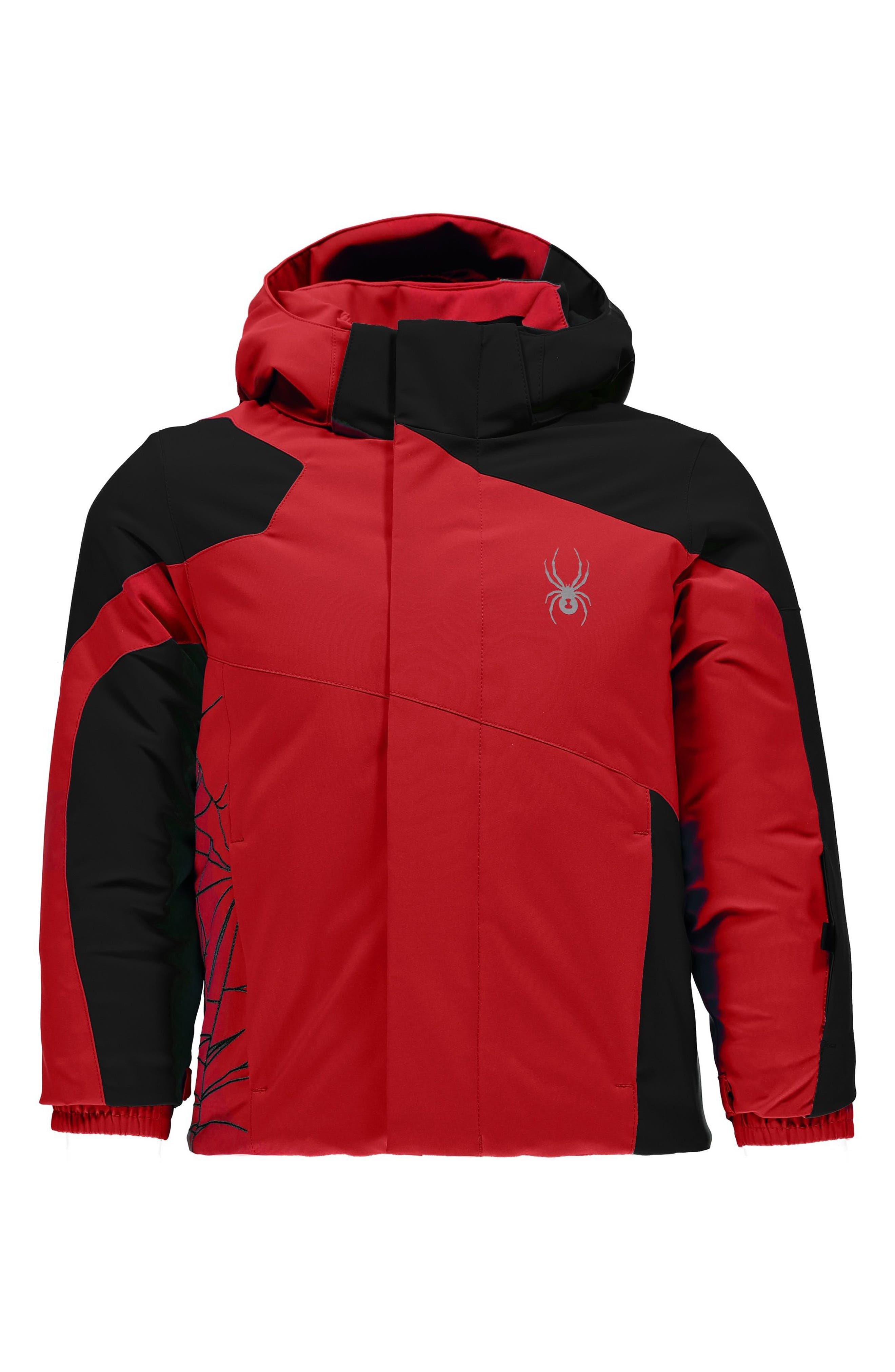 Mini Guard Insulated Waterproof Jacket,                         Main,                         color, Red/ Black