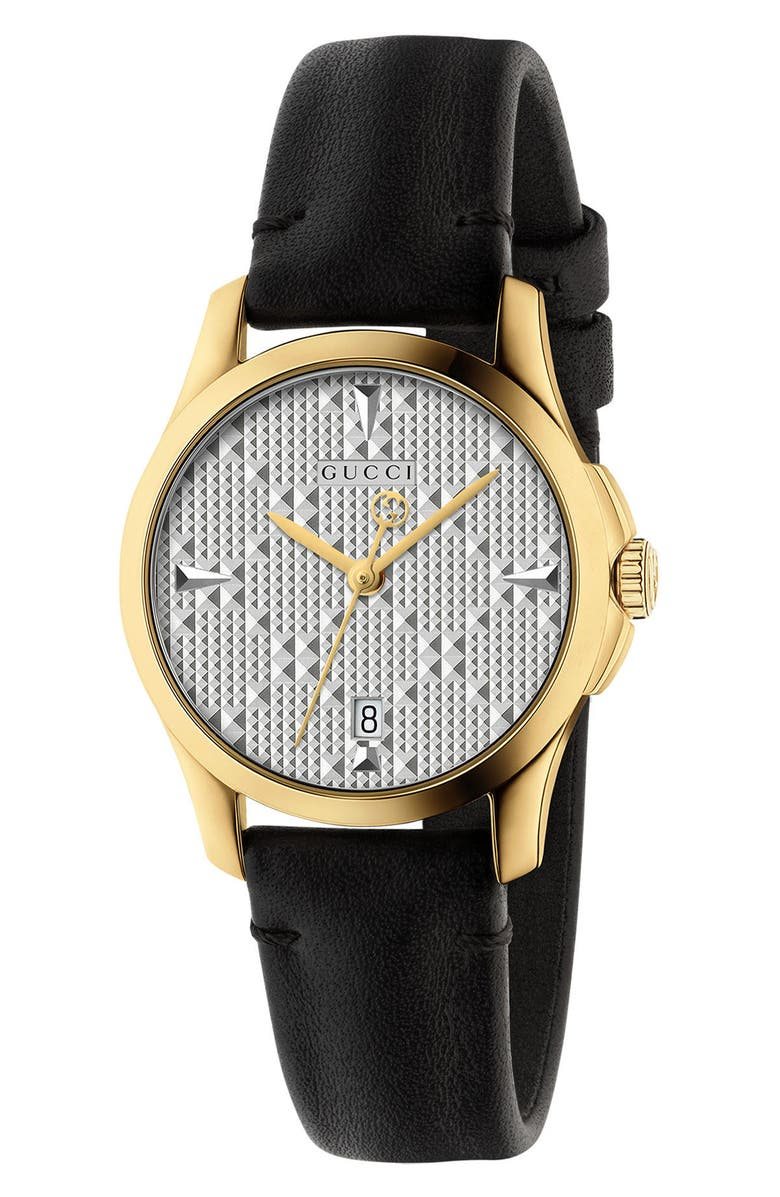 4cc14746b793 GUCCI G-TIMELESS LEATHER STRAP WATCH