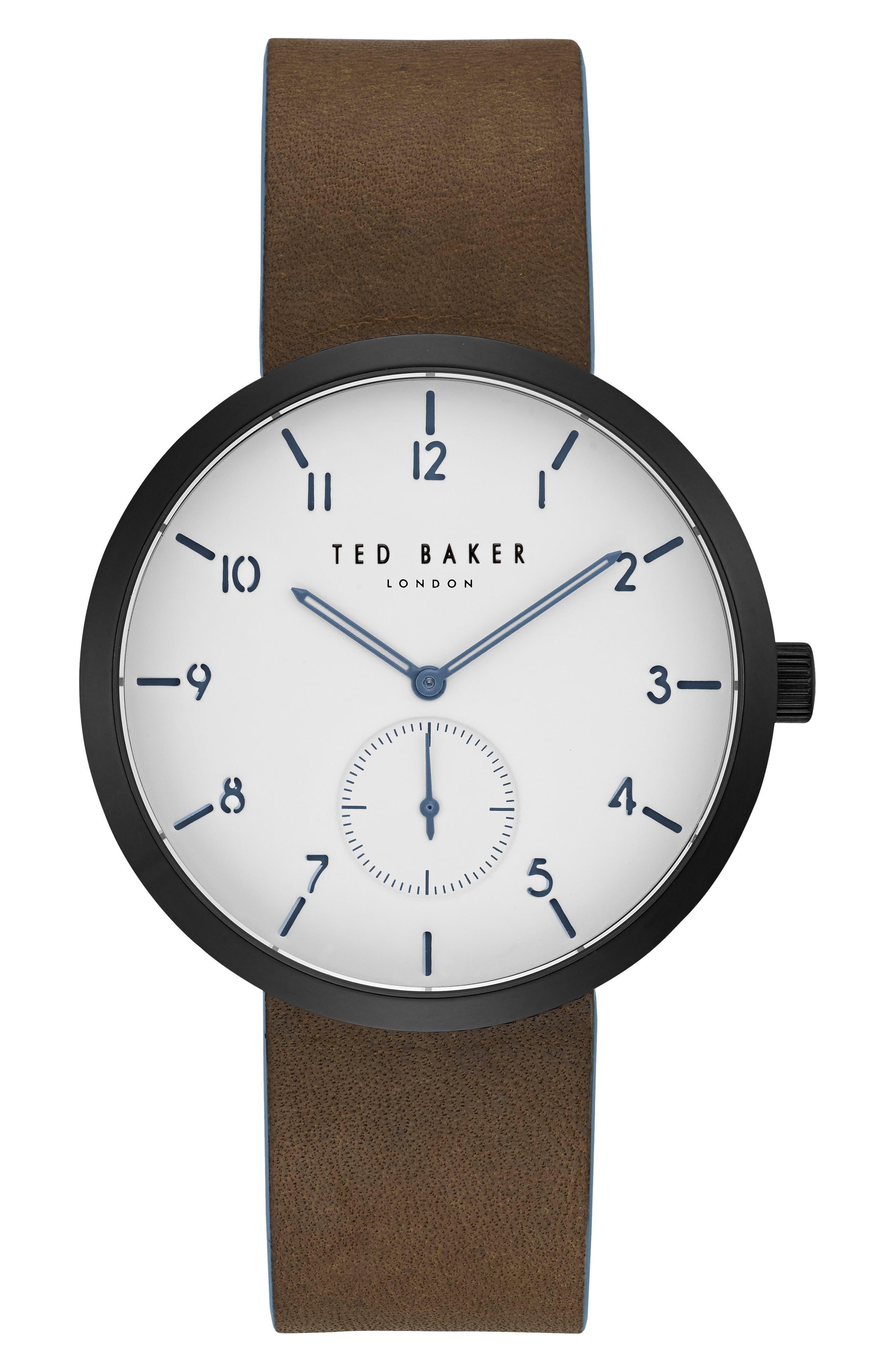 Josh Subeye Leather Strap Watch, 42mm,                         Main,                         color, White/ Dark Brown
