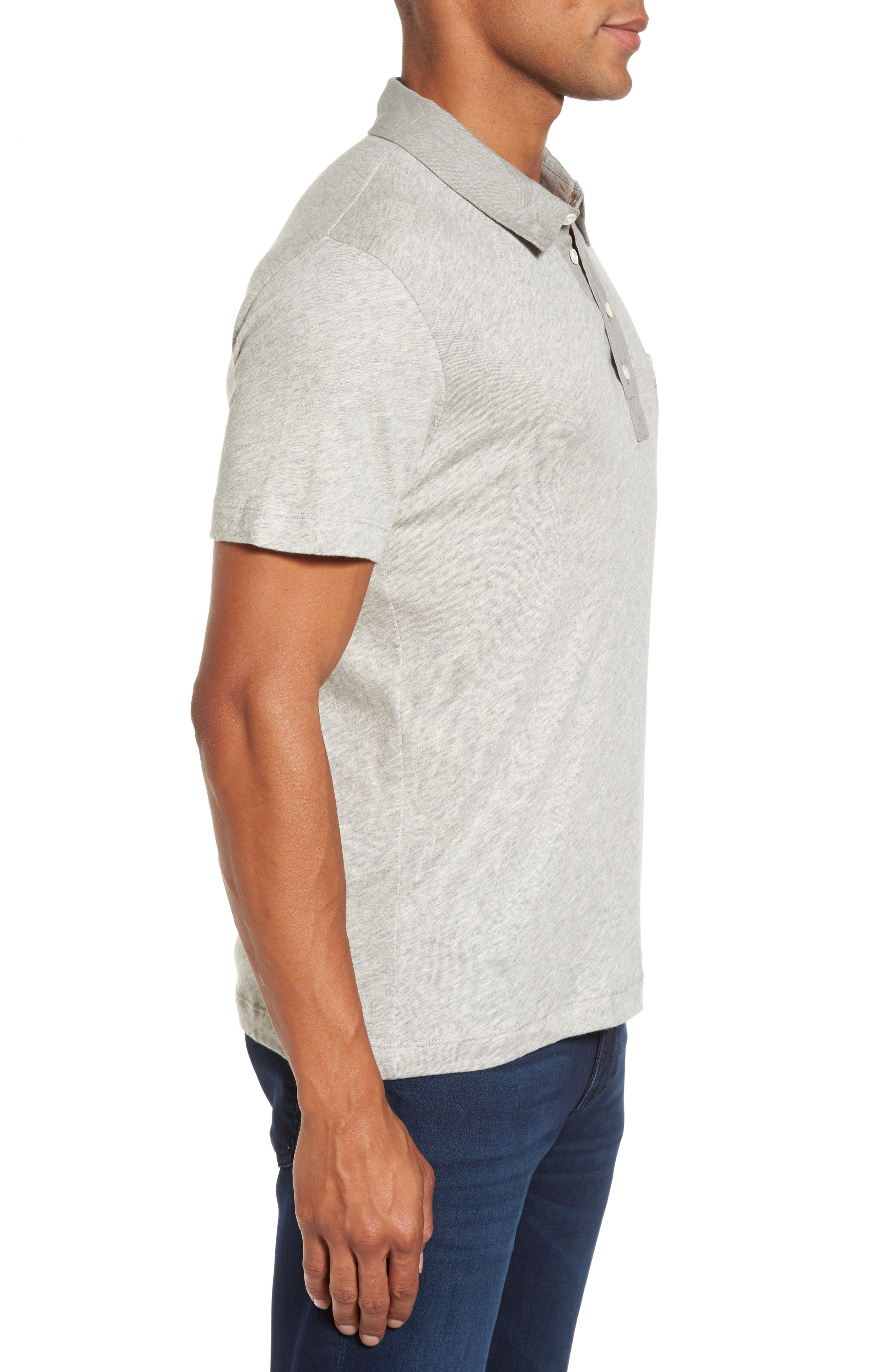 Standard Fit Jersey Polo,                             Alternate thumbnail 3, color,                             Light Heather Grey
