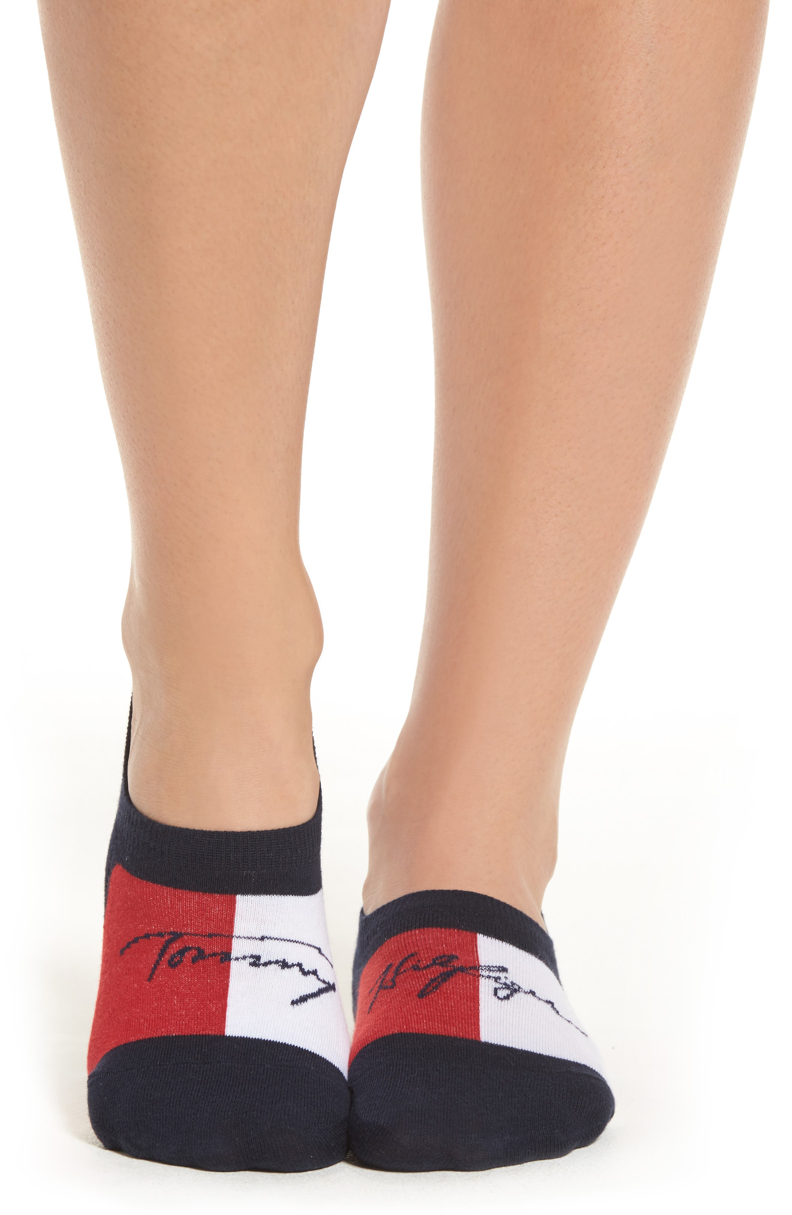 Alternate Image 2  - Tommy Hilfiger Flag Logo No-Show Socks