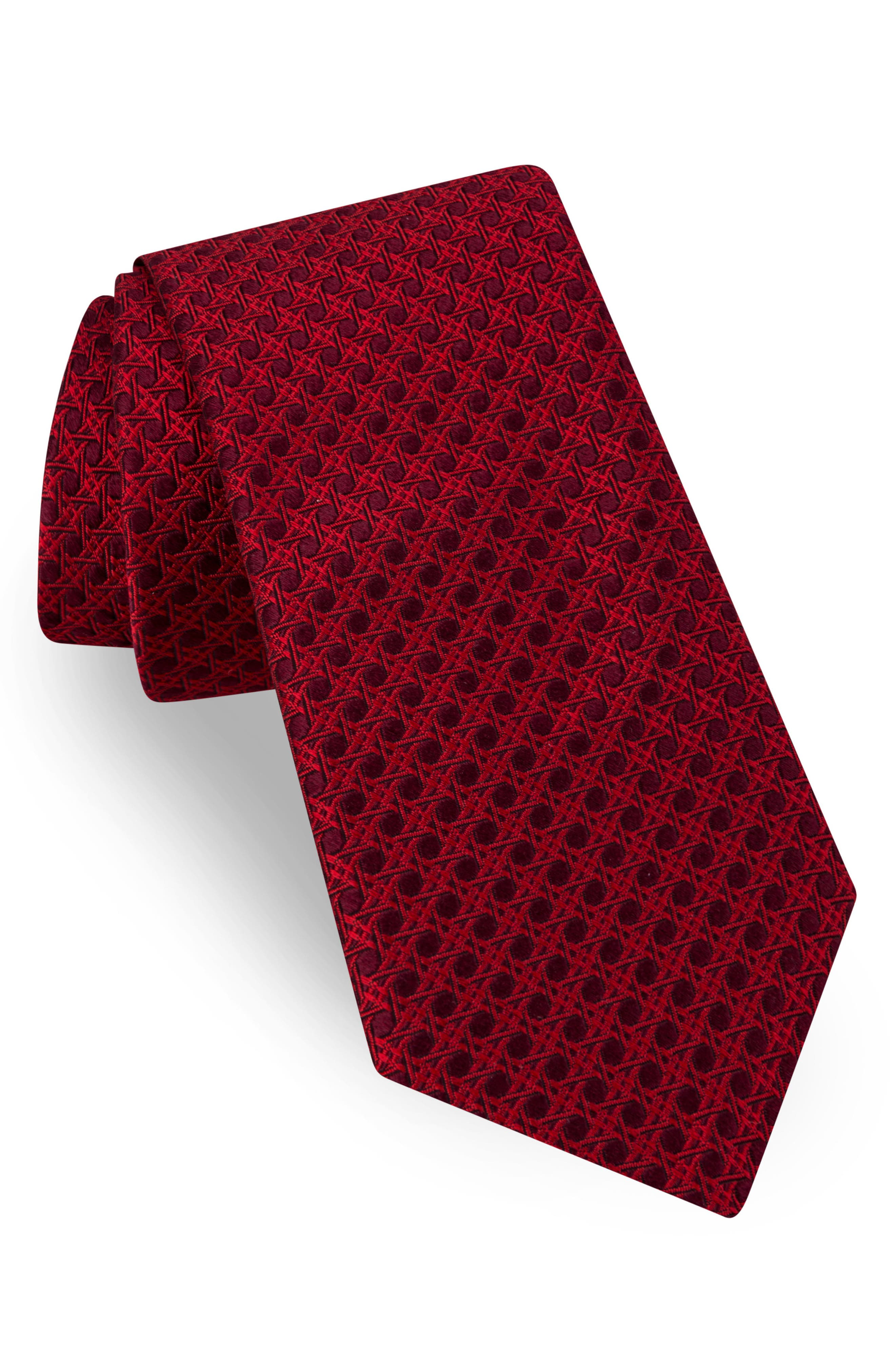 Fancy Geometric Silk Tie,                             Main thumbnail 1, color,                             Red