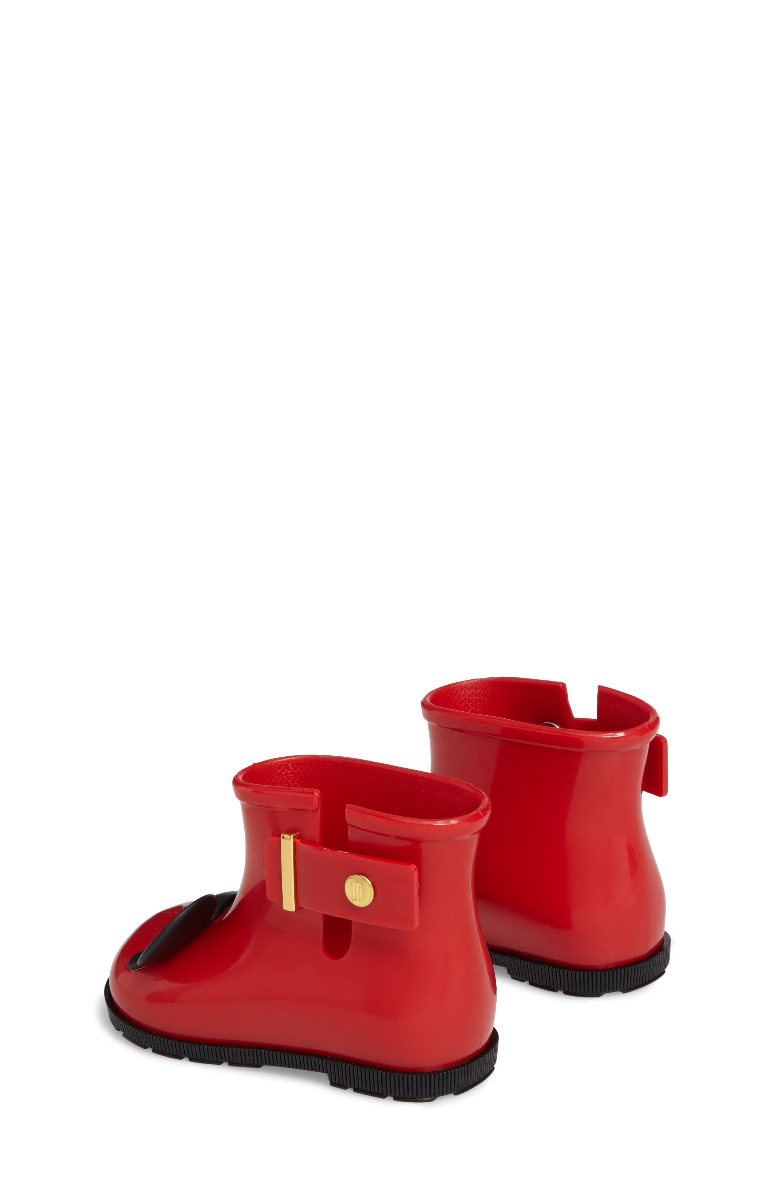 Mini Melissa Sugar Rain Disney Twins Waterproof Bootie,                             Alternate thumbnail 2, color,                             Red