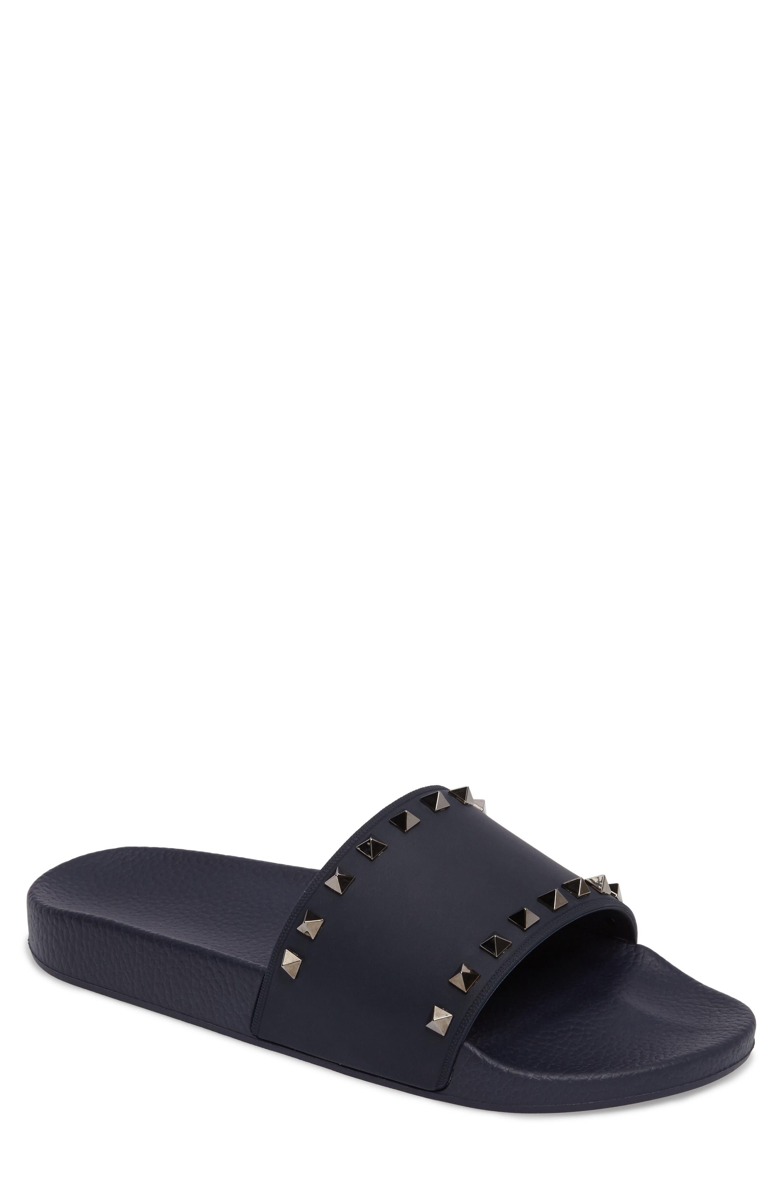 Rockstud Slide Sandal,                             Main thumbnail 1, color,                             Marine Blue