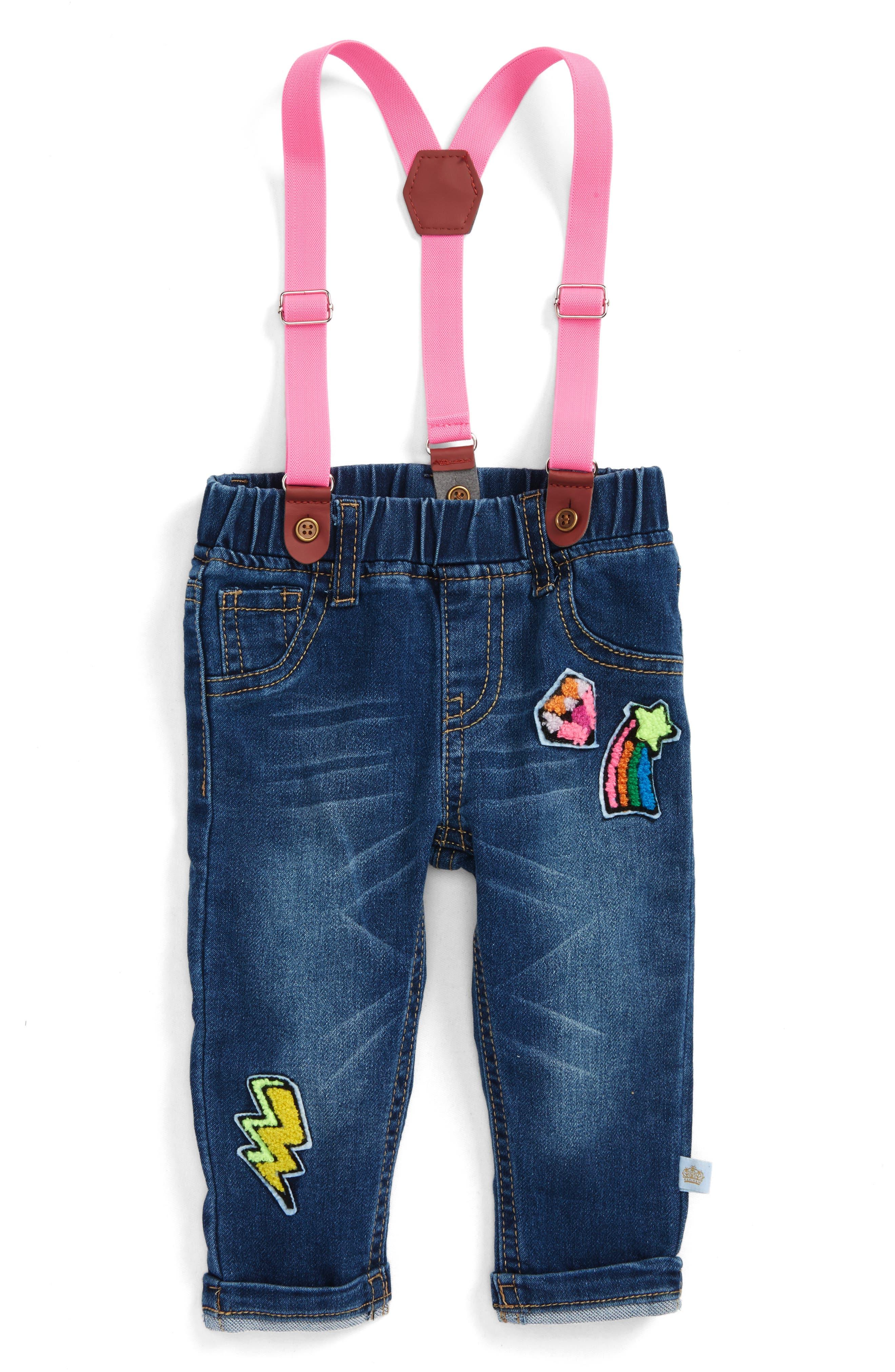 Alternate Image 1 Selected - Rosie Pope Jeans & Suspenders Set (Baby Girls)
