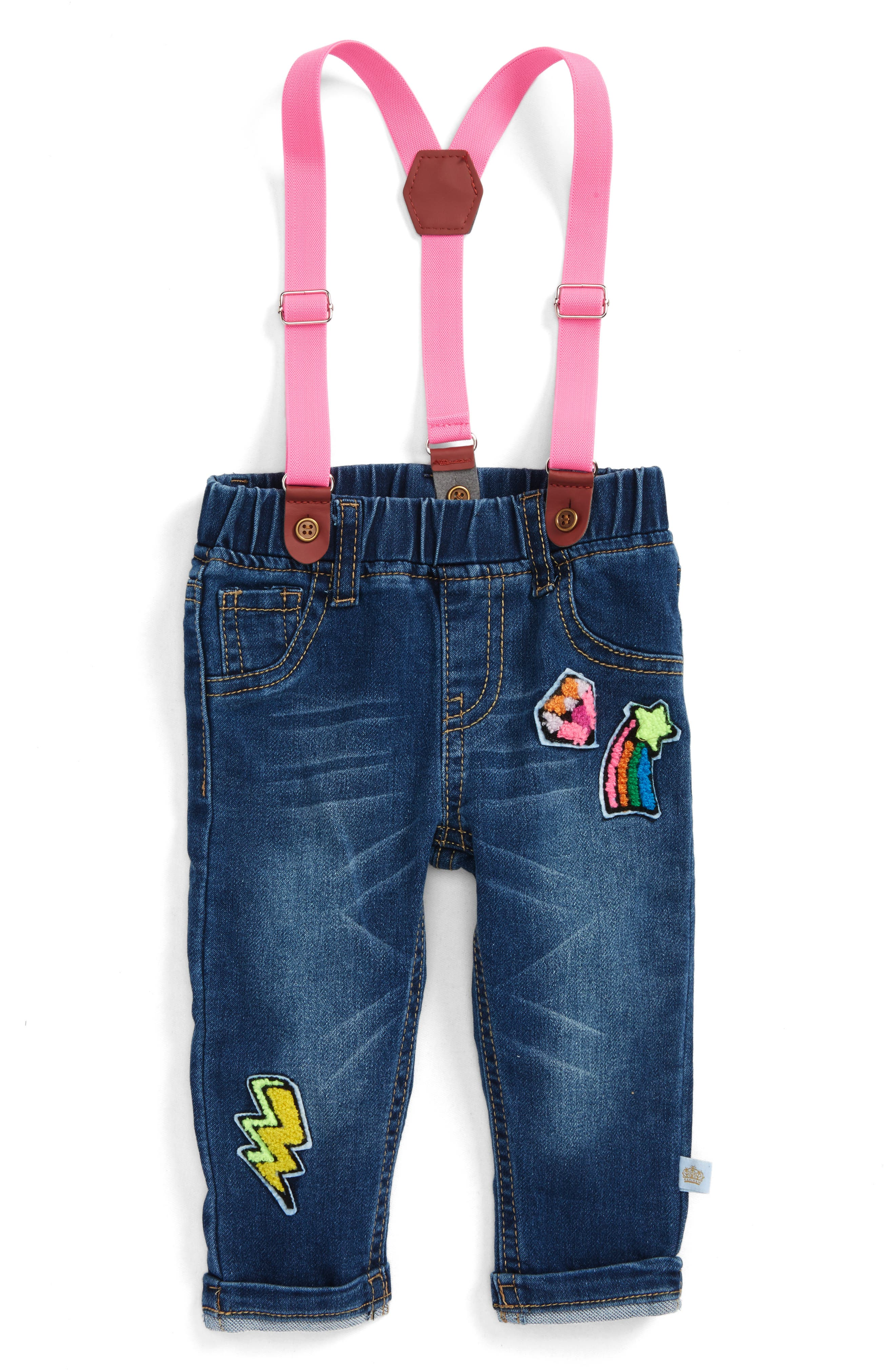Rosie Pope Jeans & Suspenders Set (Baby Girls)