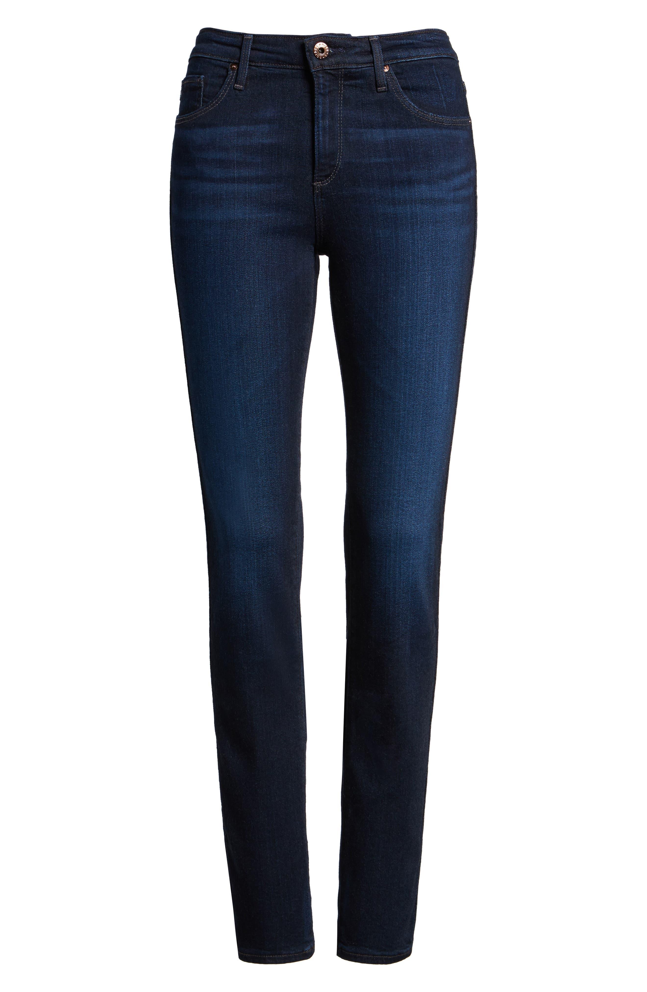 'Prima' Mid Rise Skinny Jeans,                             Alternate thumbnail 4, color,                             Jet Setter