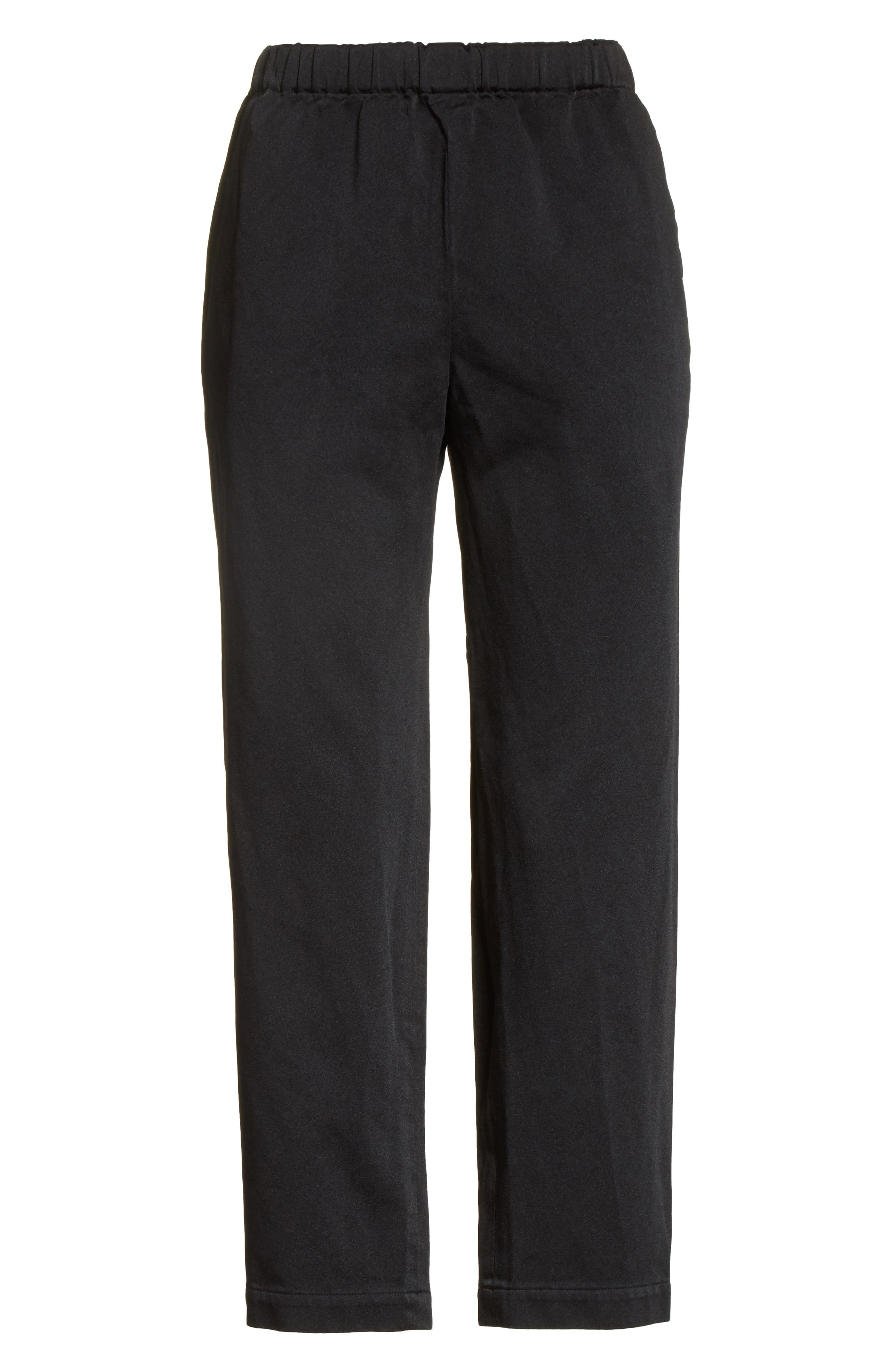 Satin Drawstring Pants,                             Alternate thumbnail 6, color,                             Black
