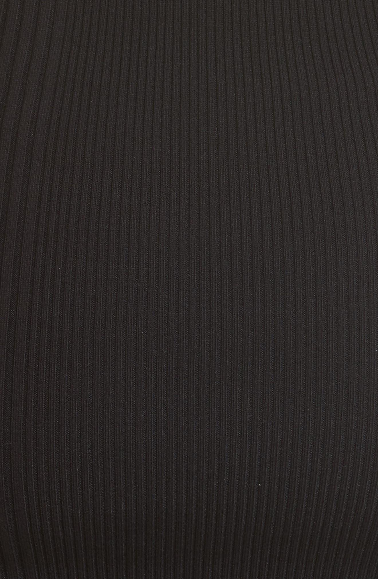 Sheer Popover Knit Dress,                             Alternate thumbnail 6, color,                             Black