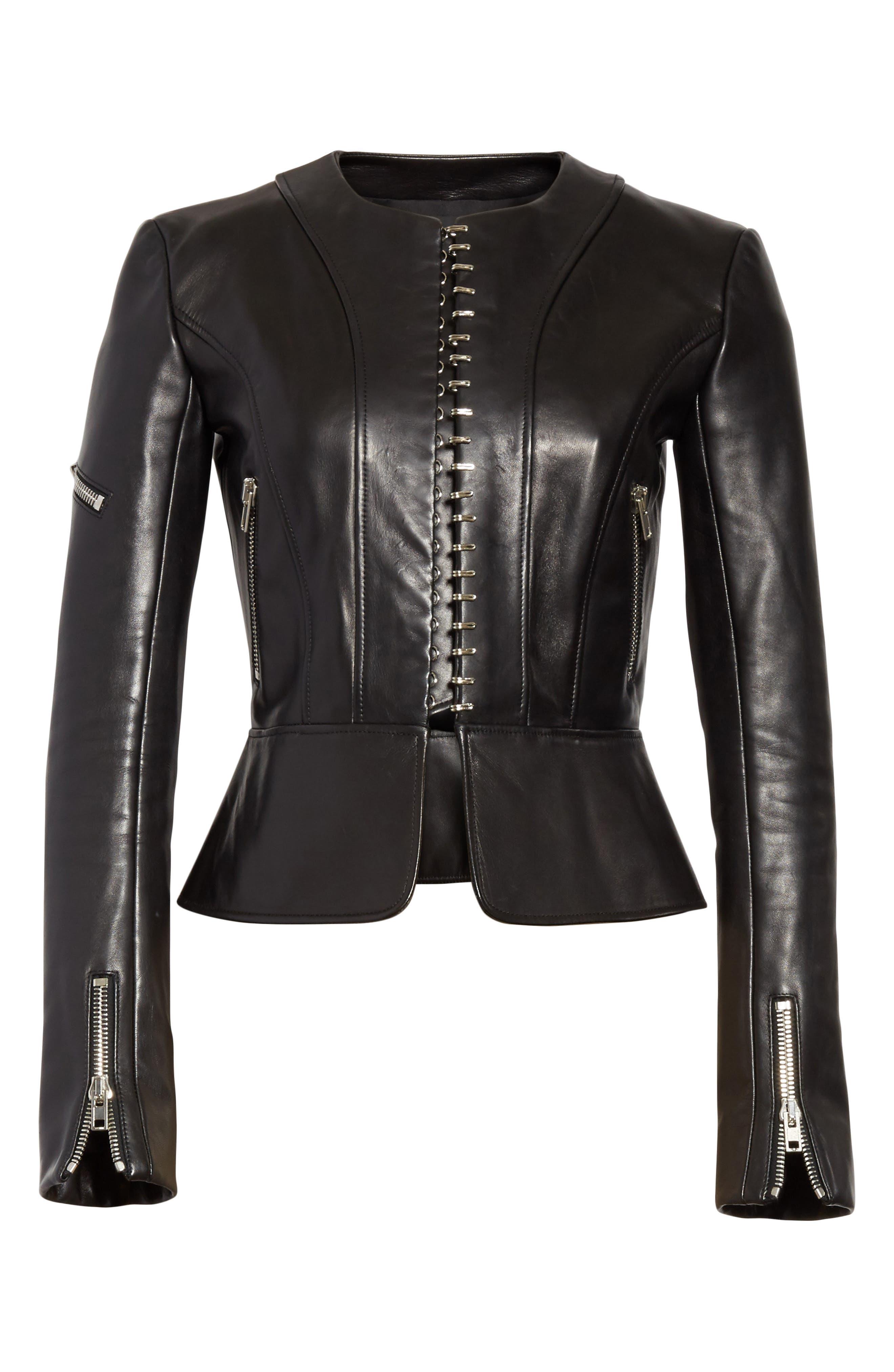 Hook Detail Lambskin Leather Jacket,                             Alternate thumbnail 6, color,                             Black