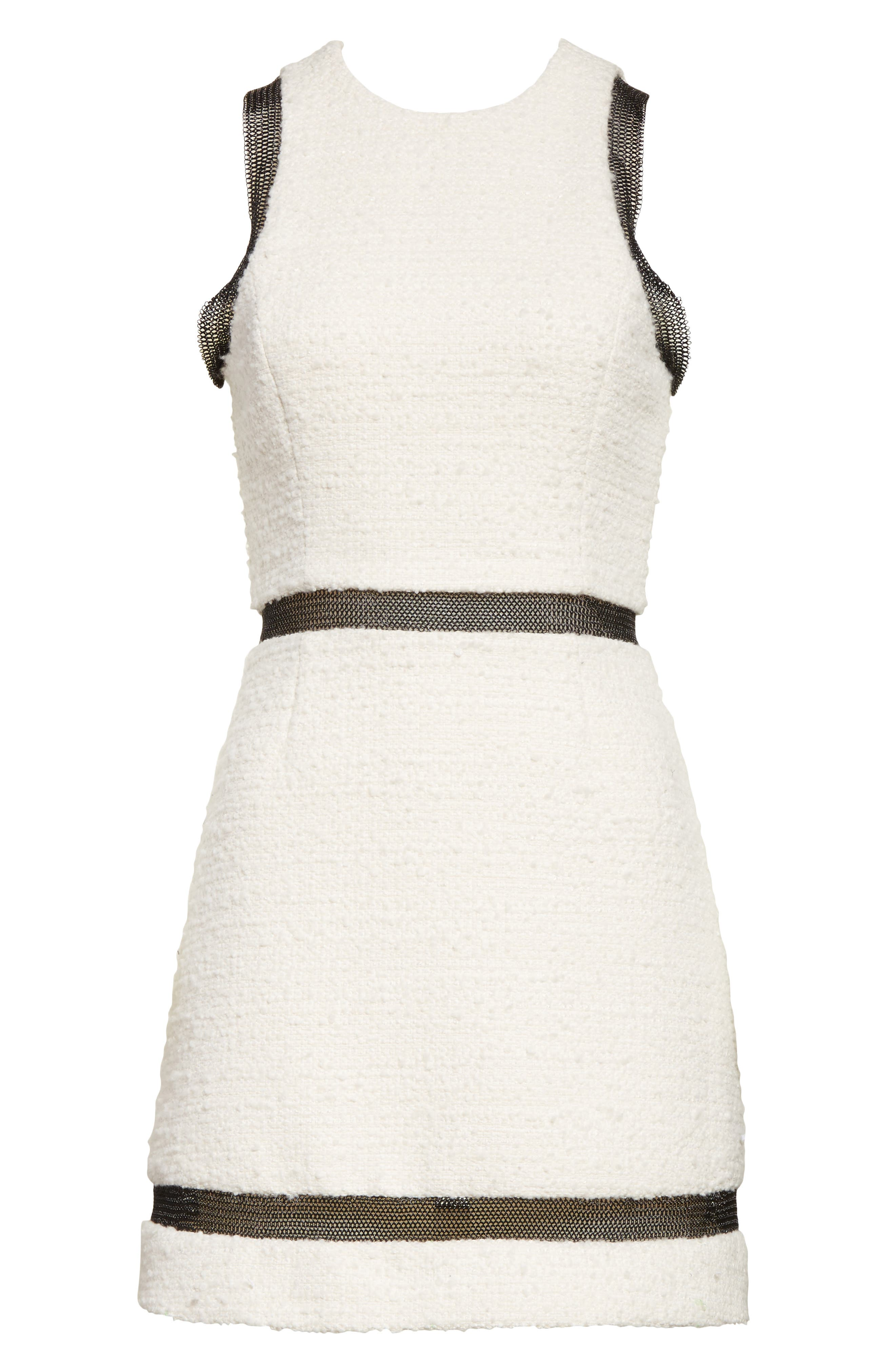 Chain Mail Trim Tweed Dress,                             Alternate thumbnail 7, color,                             Ivory