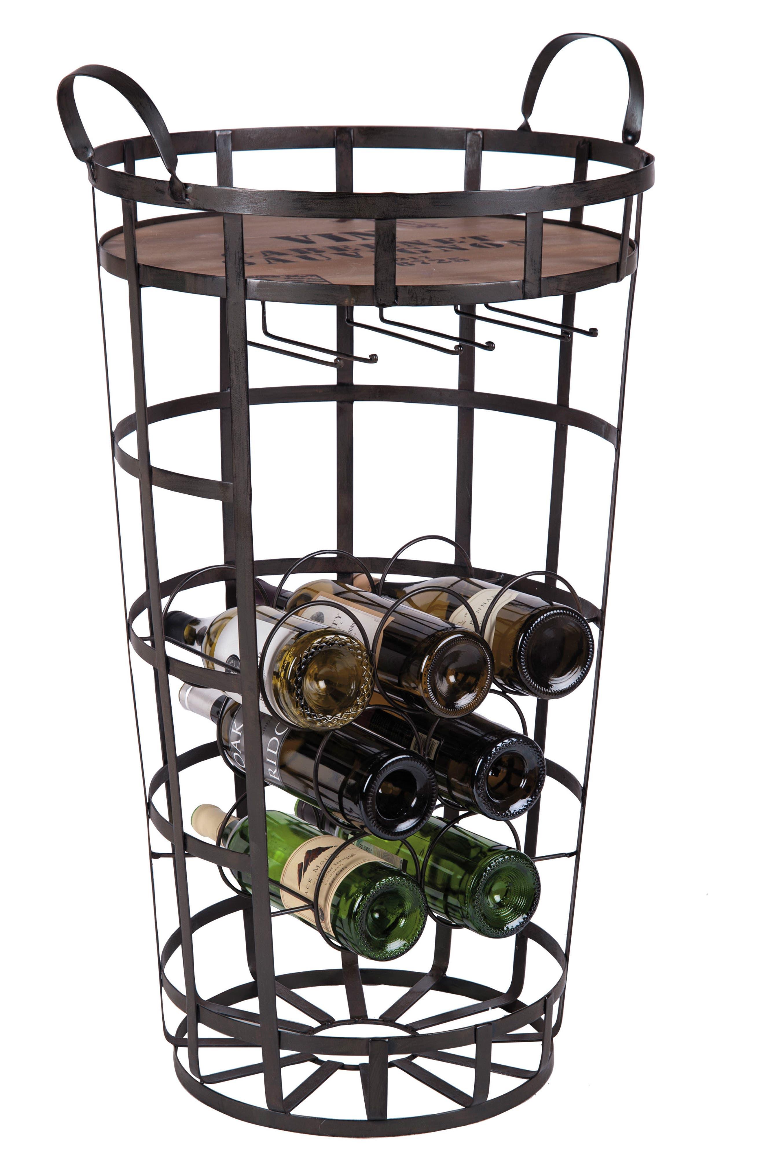 Bar Cart & Wine Rack,                         Main,                         color, Metal/ Wood