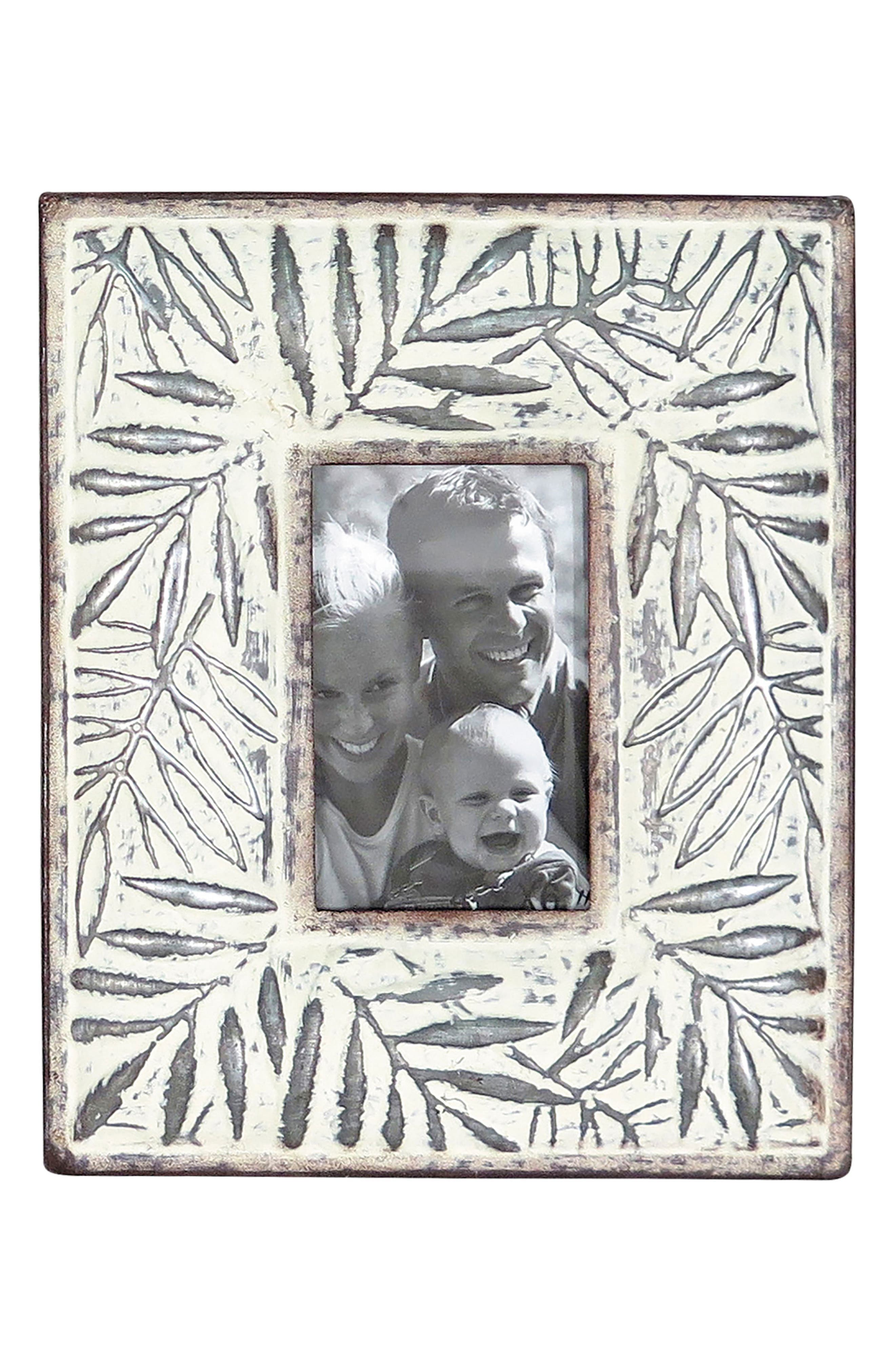 Etched Leaf Picture Frame,                             Main thumbnail 1, color,                             Metal/ Glass