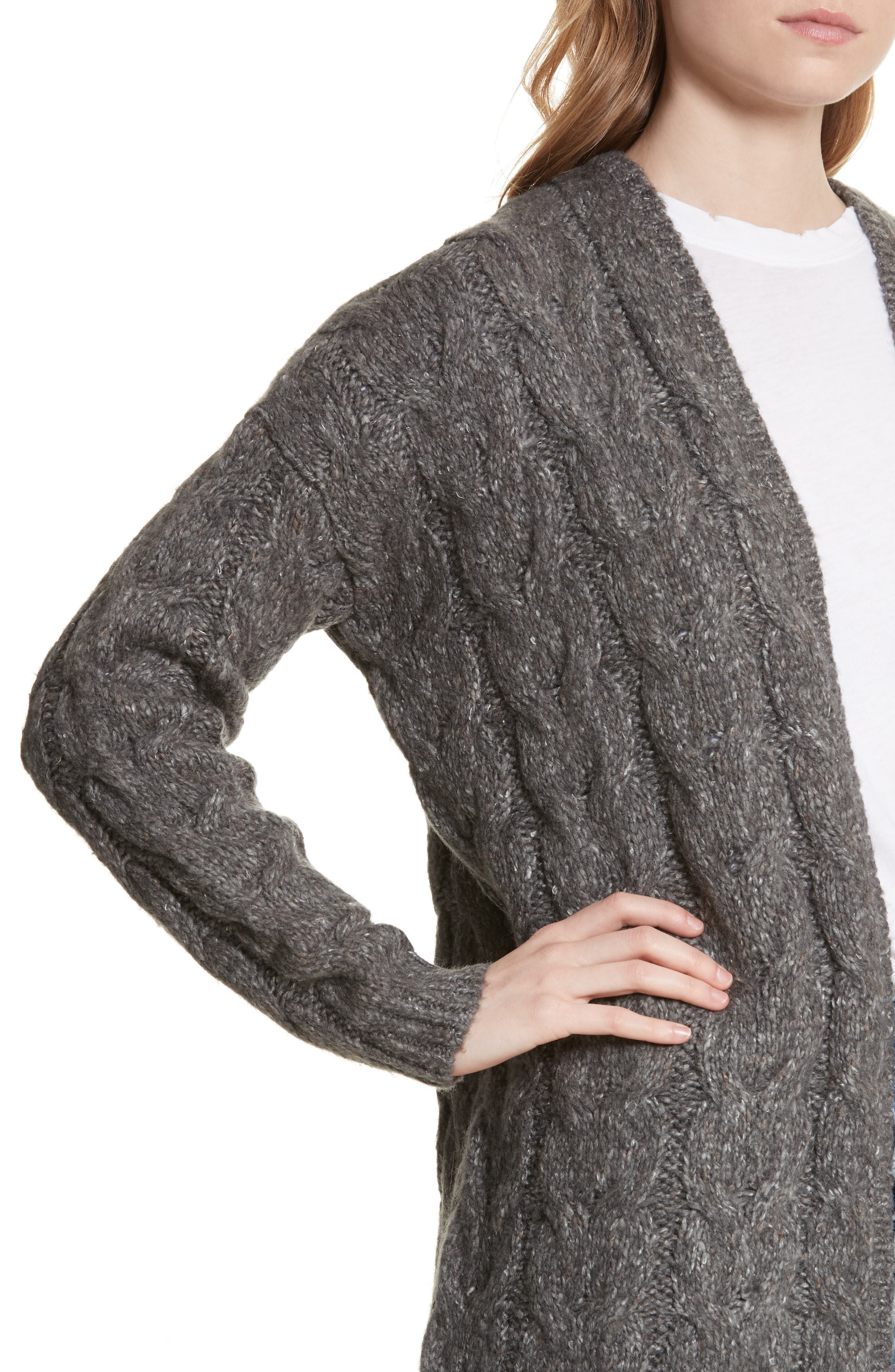 Tienna Cable-Knit Cardigan,                             Alternate thumbnail 4, color,                             Dark Heather Grey