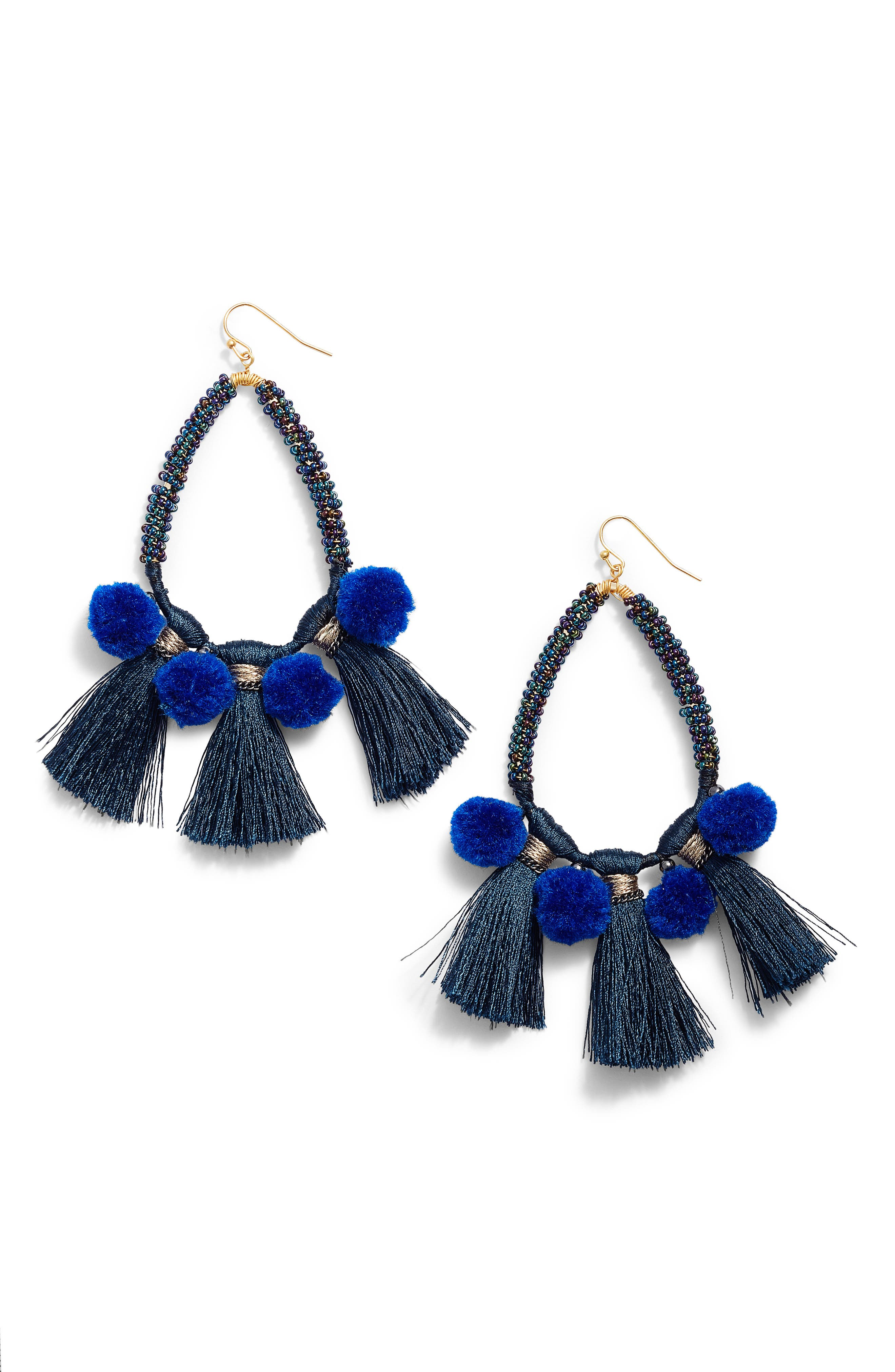 Babak Teardrop Tassel Earrings,                             Main thumbnail 1, color,                             Blue
