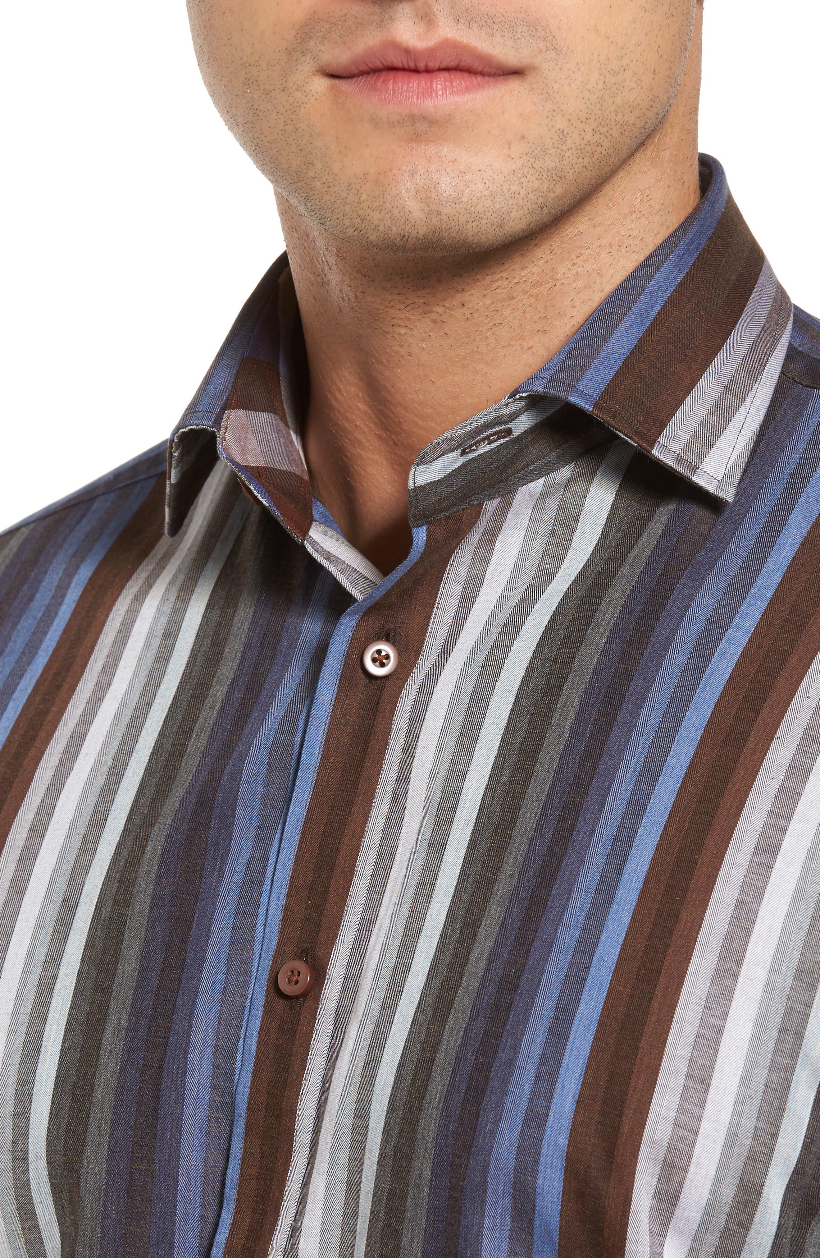 Alternate Image 4  - Thomas Dean Regular Fit Multicolor Stripe Herringbone Sport Shirt