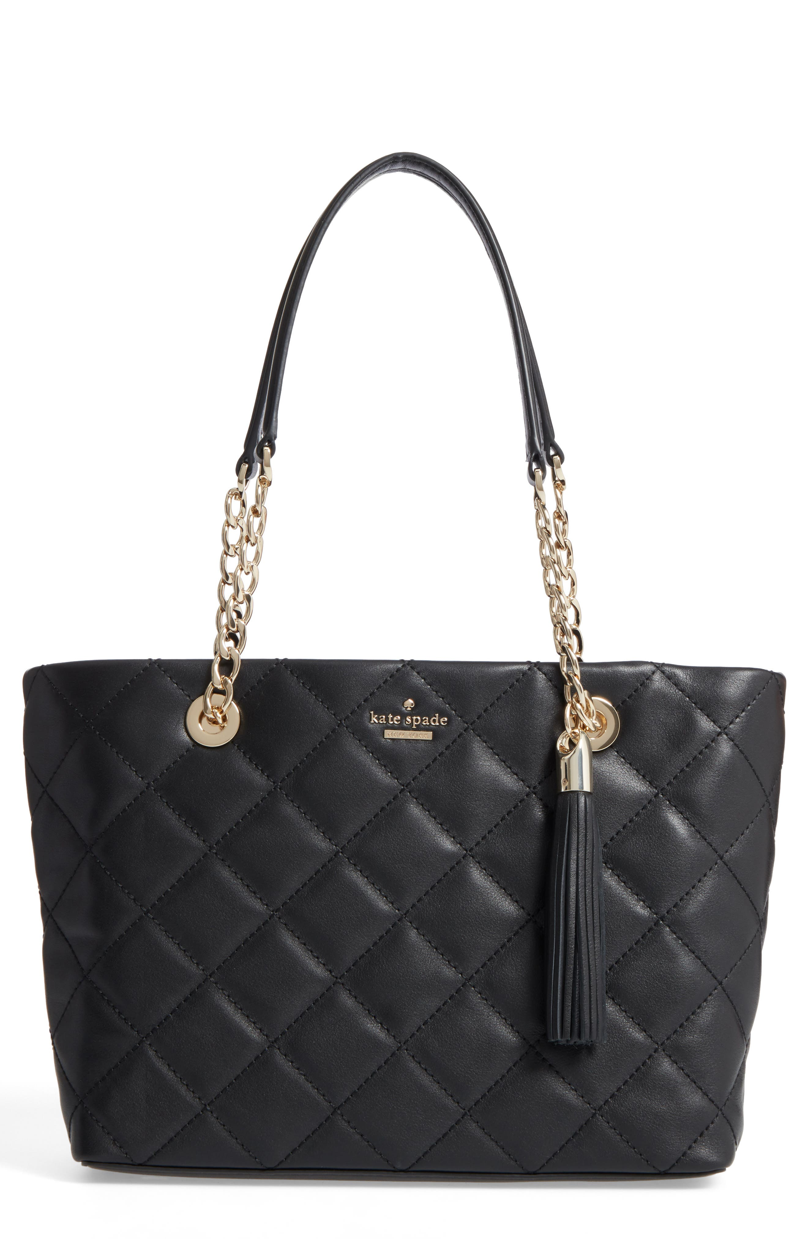 small emerson place - priya quilted leather tote,                             Main thumbnail 1, color,                             Black