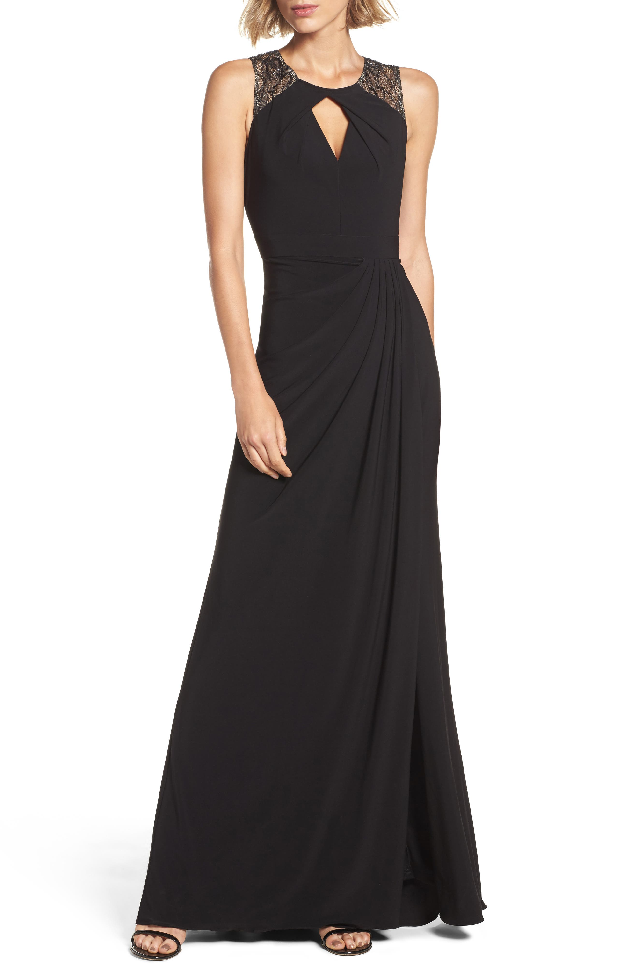 Lace Shoulder Jersey Gown,                             Main thumbnail 1, color,                             Black