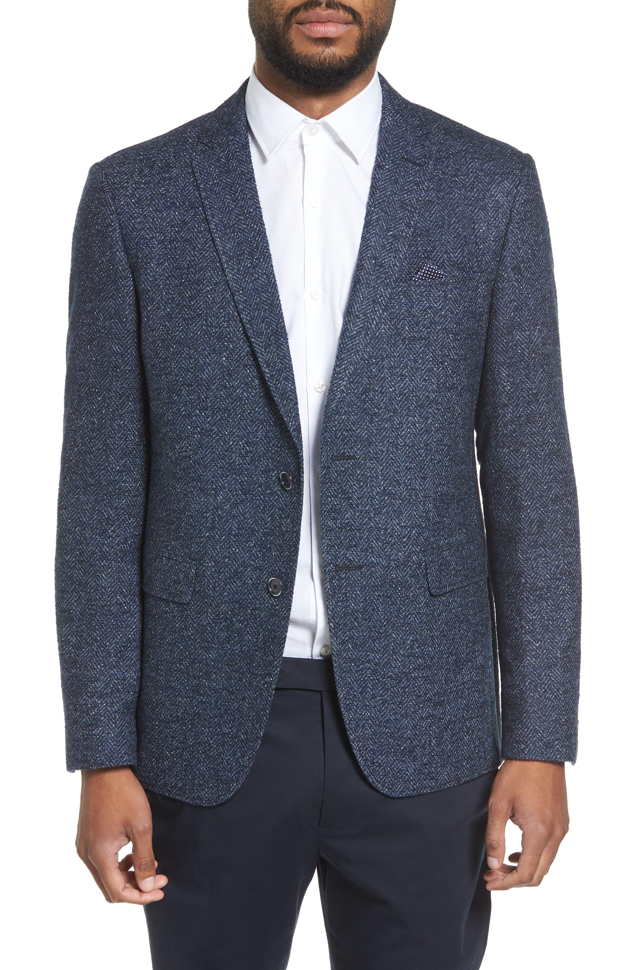 Main Image - Sand Trim Fit Herringbone Wool Blend Sport Coat