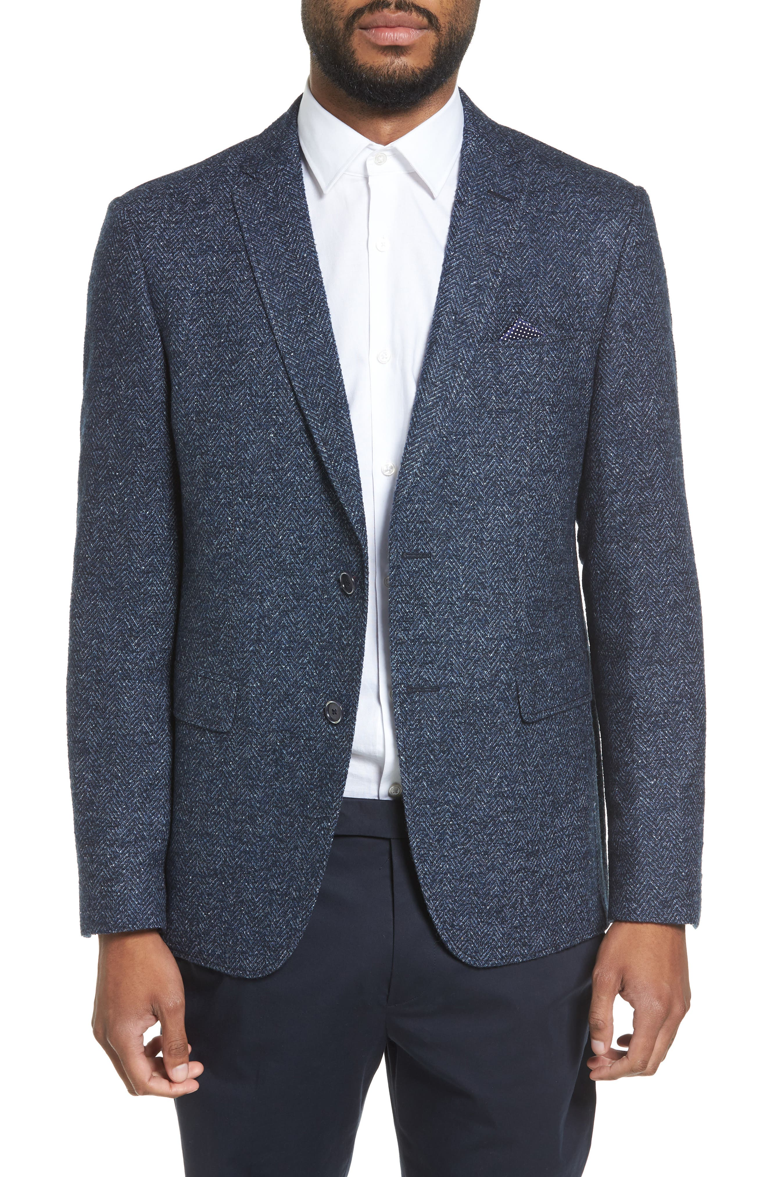 Trim Fit Herringbone Wool Blend Sport Coat,                         Main,                         color, Blue