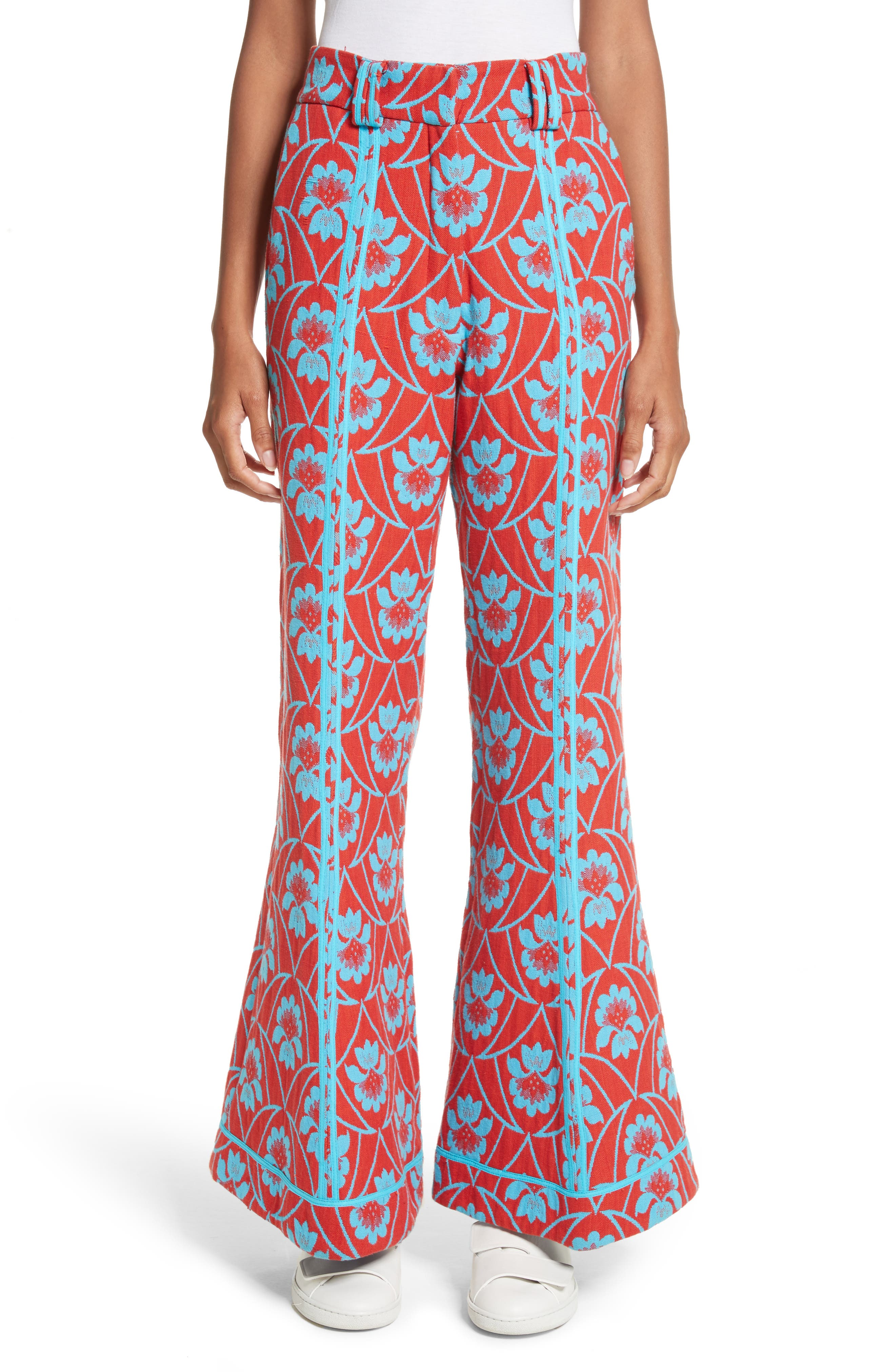 Floral Flare Trousers,                         Main,                         color, Red Acid Blue