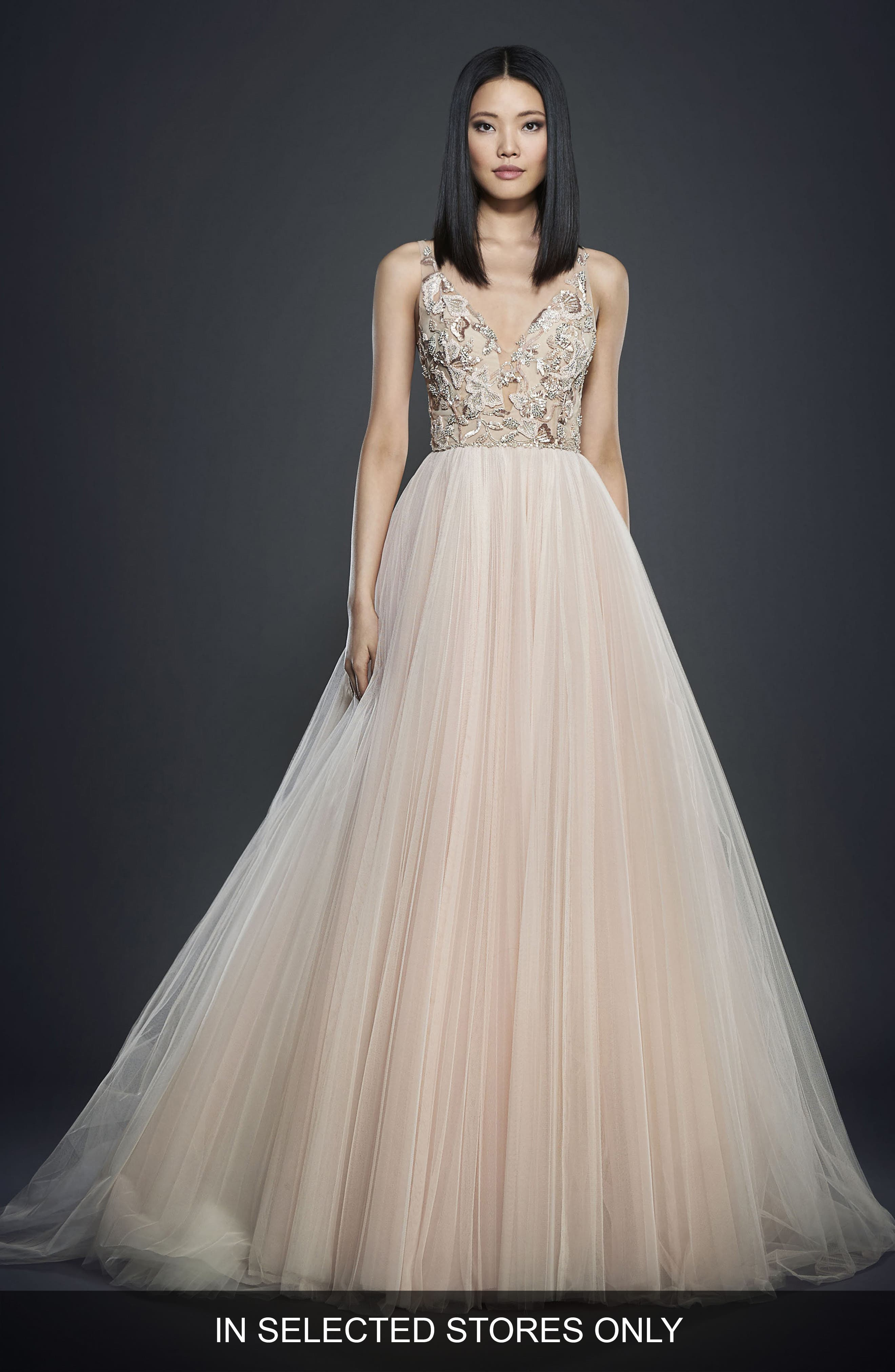 Deep V-Neck Embroided Bodice Gown,                         Main,                         color, Blush