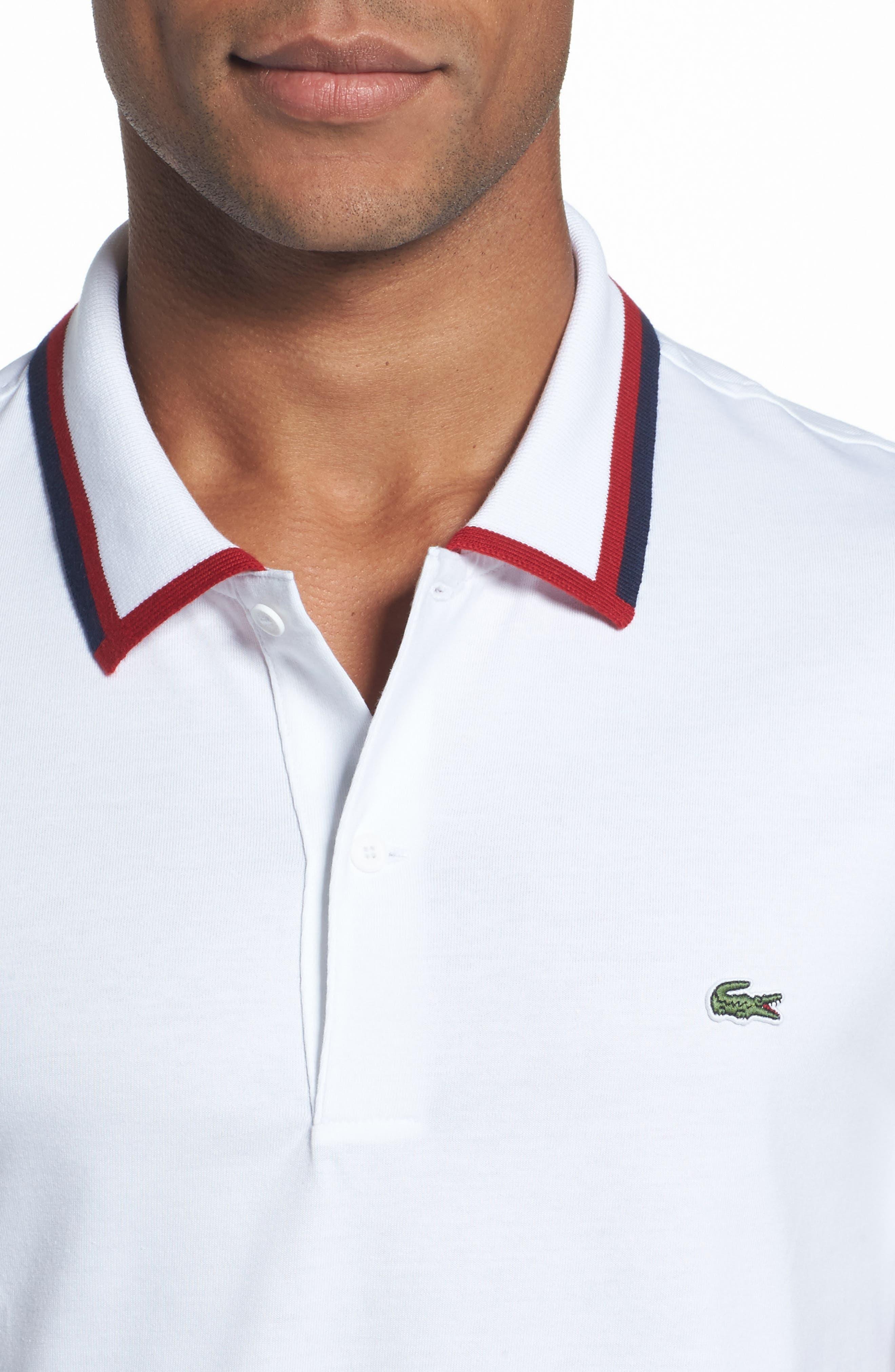Accent Collar Polo,                             Alternate thumbnail 4, color,                             White/ Ladybird/ Navy Blue