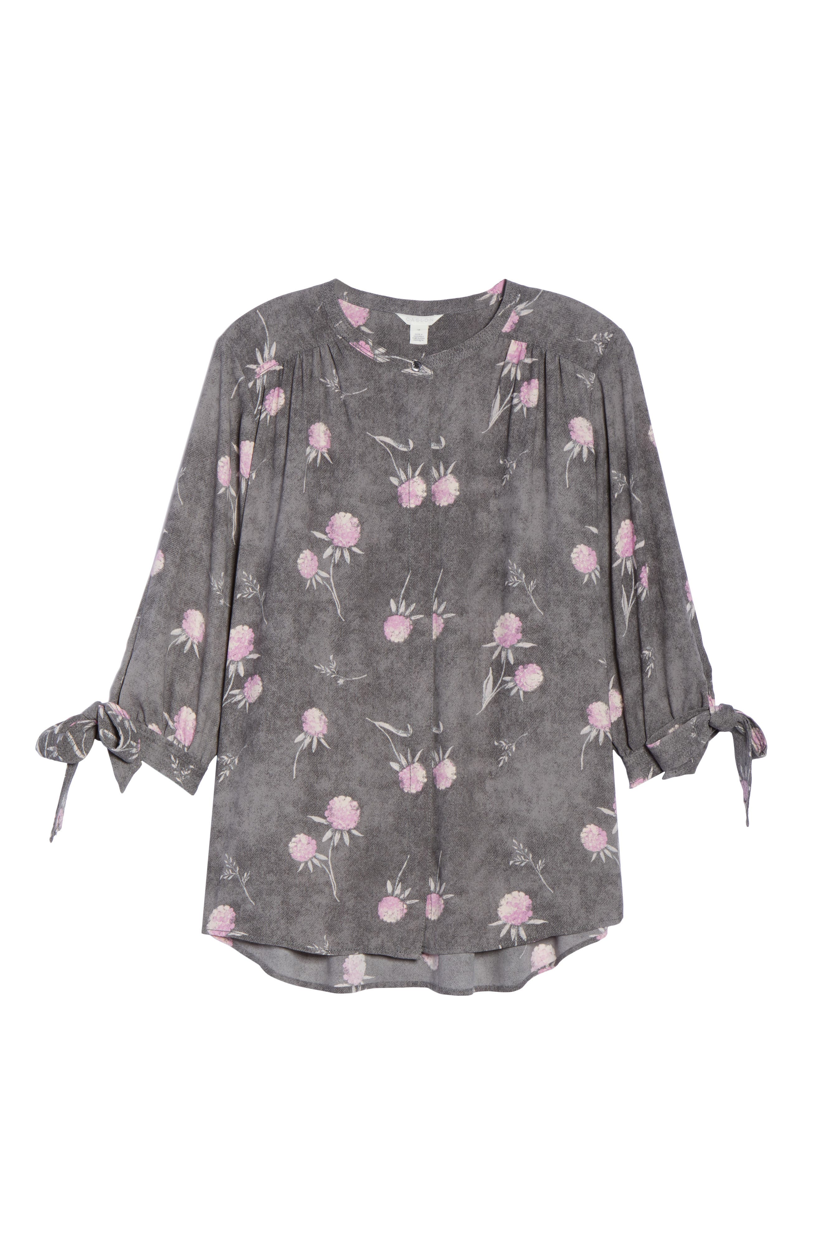 Tie Sleeve Blouse,                             Alternate thumbnail 7, color,                             Grey Enchanted Floral