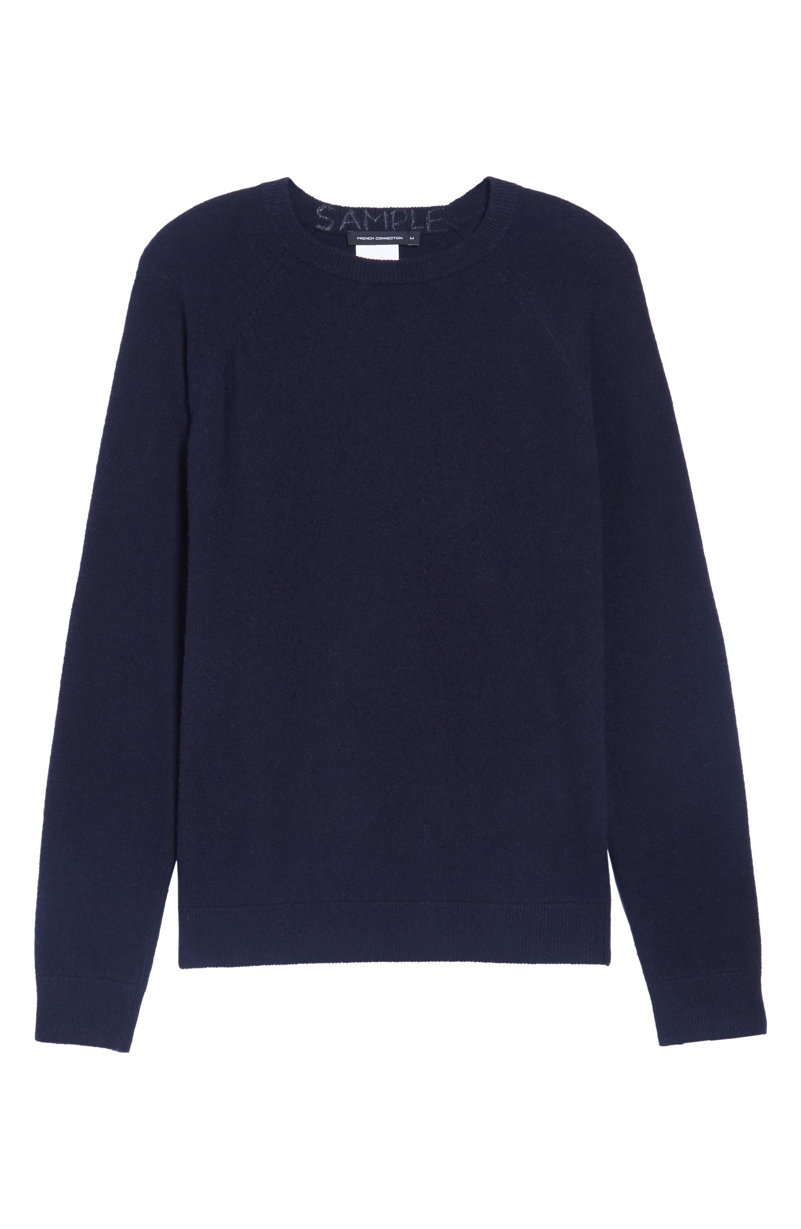 Crewneck Wool Sweater,                             Alternate thumbnail 6, color,                             Marine Blue/ Tartan