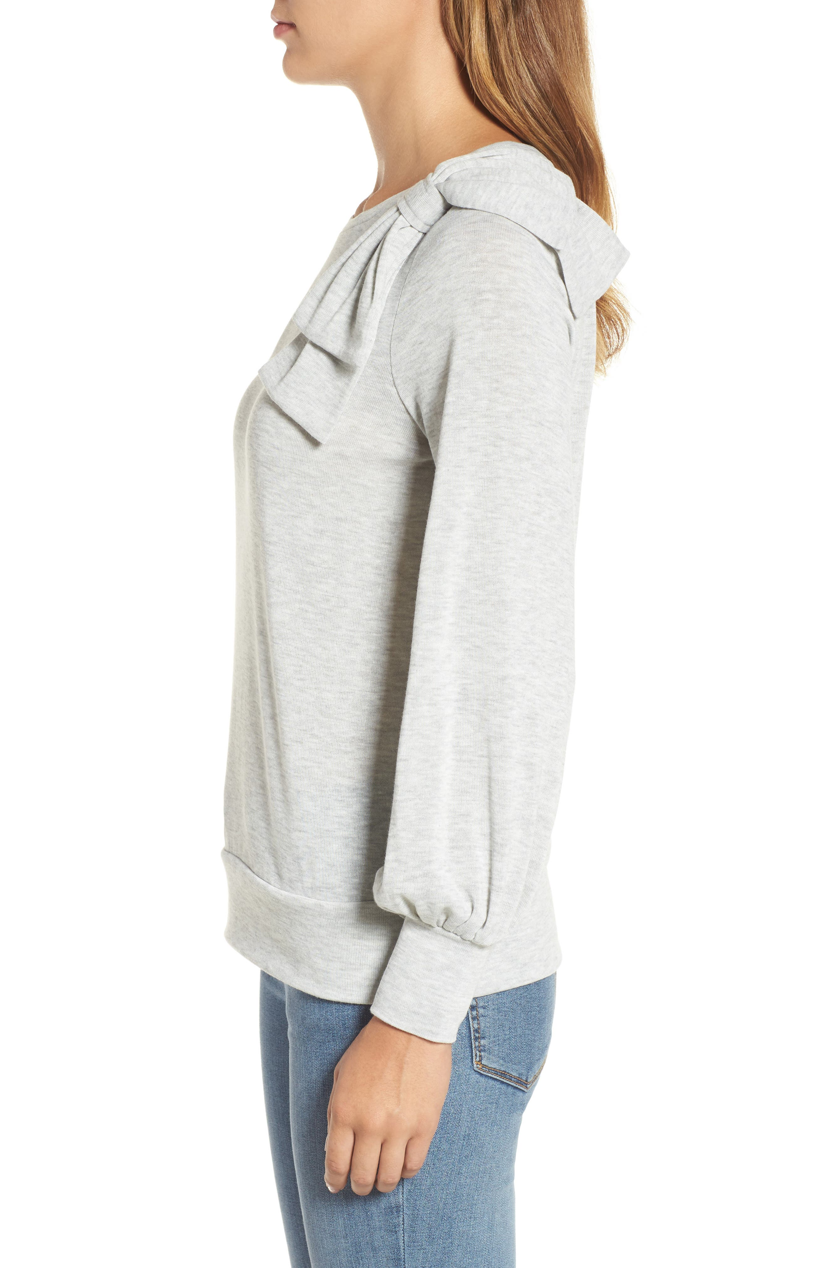 Bow Knit Sweatshirt,                             Alternate thumbnail 3, color,                             Grey Heather