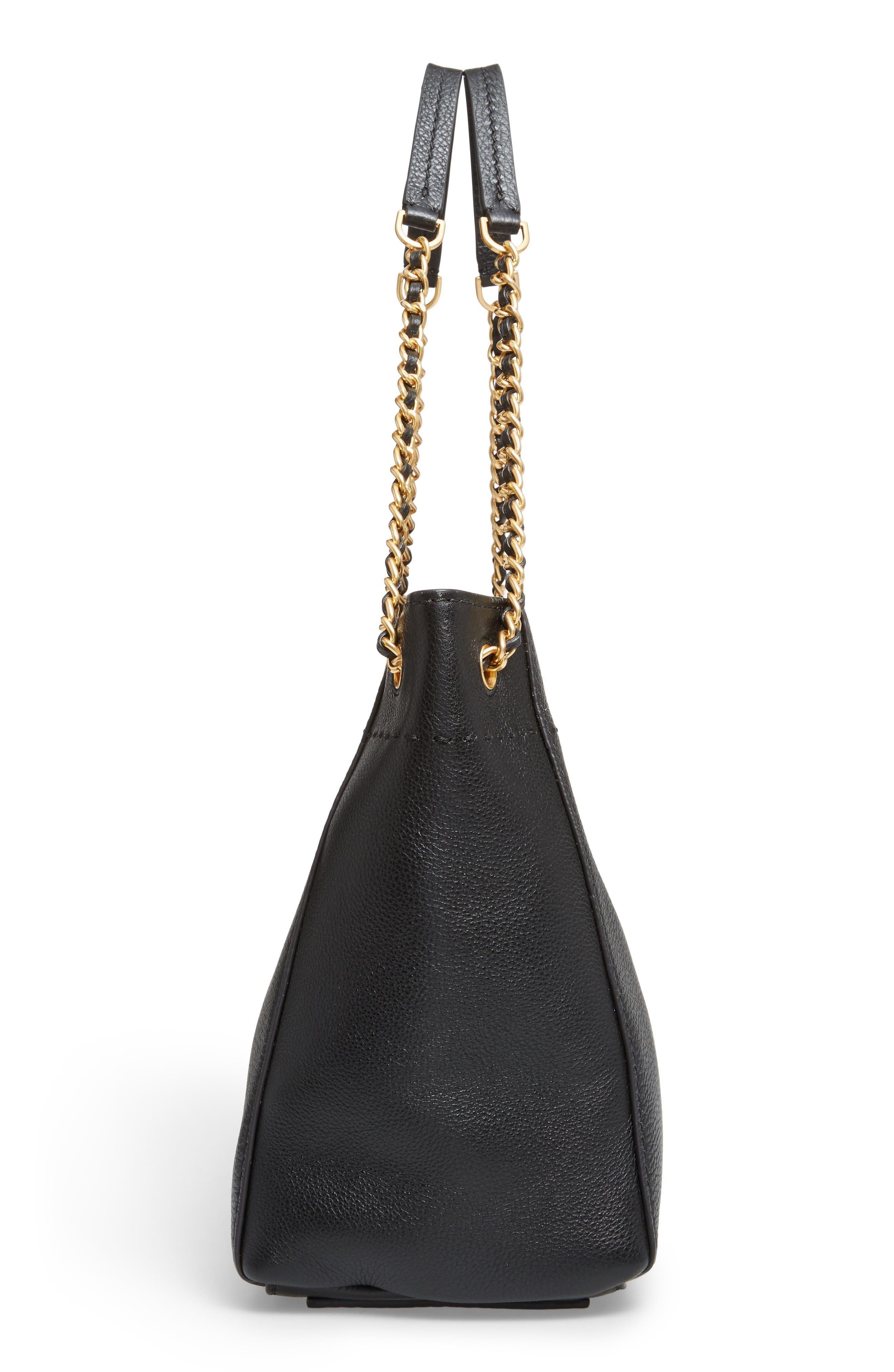 McGraw Slouchy Leather Shoulder Bag,                             Alternate thumbnail 5, color,                             Black