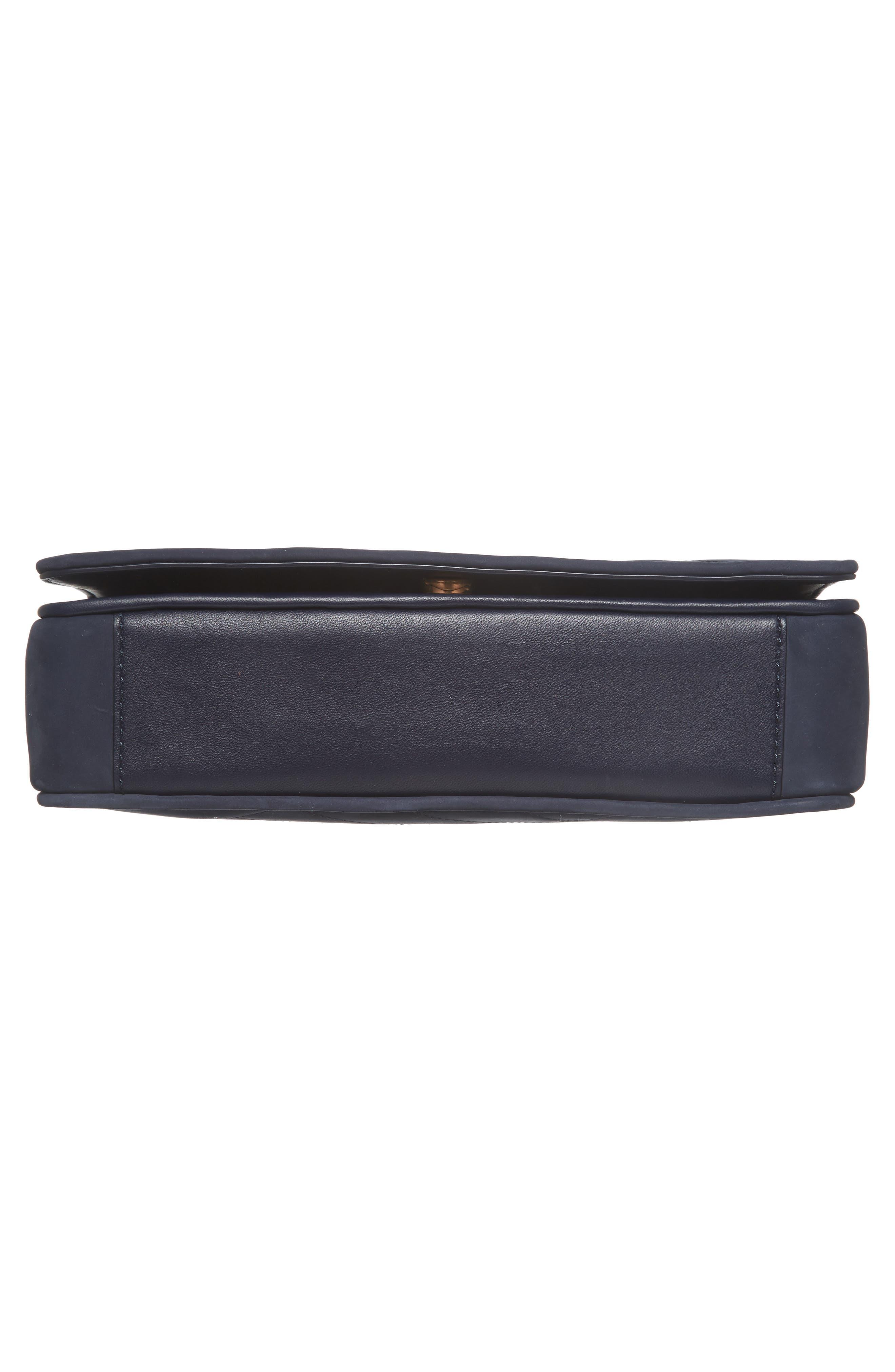 Alexa Leather Shoulder Bag,                             Alternate thumbnail 6, color,                             Royal Navy