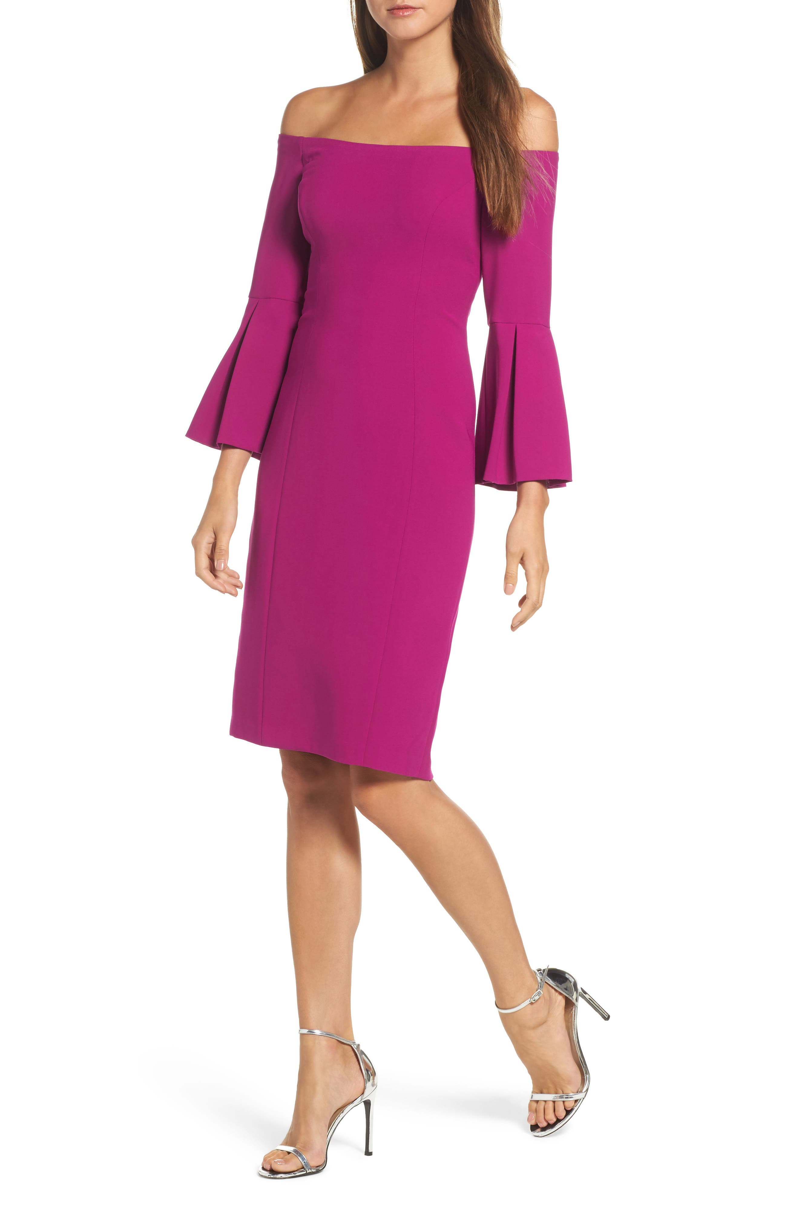 Off the Shoulder Bell Sleeve Sheath Dress,                         Main,                         color, Orchid