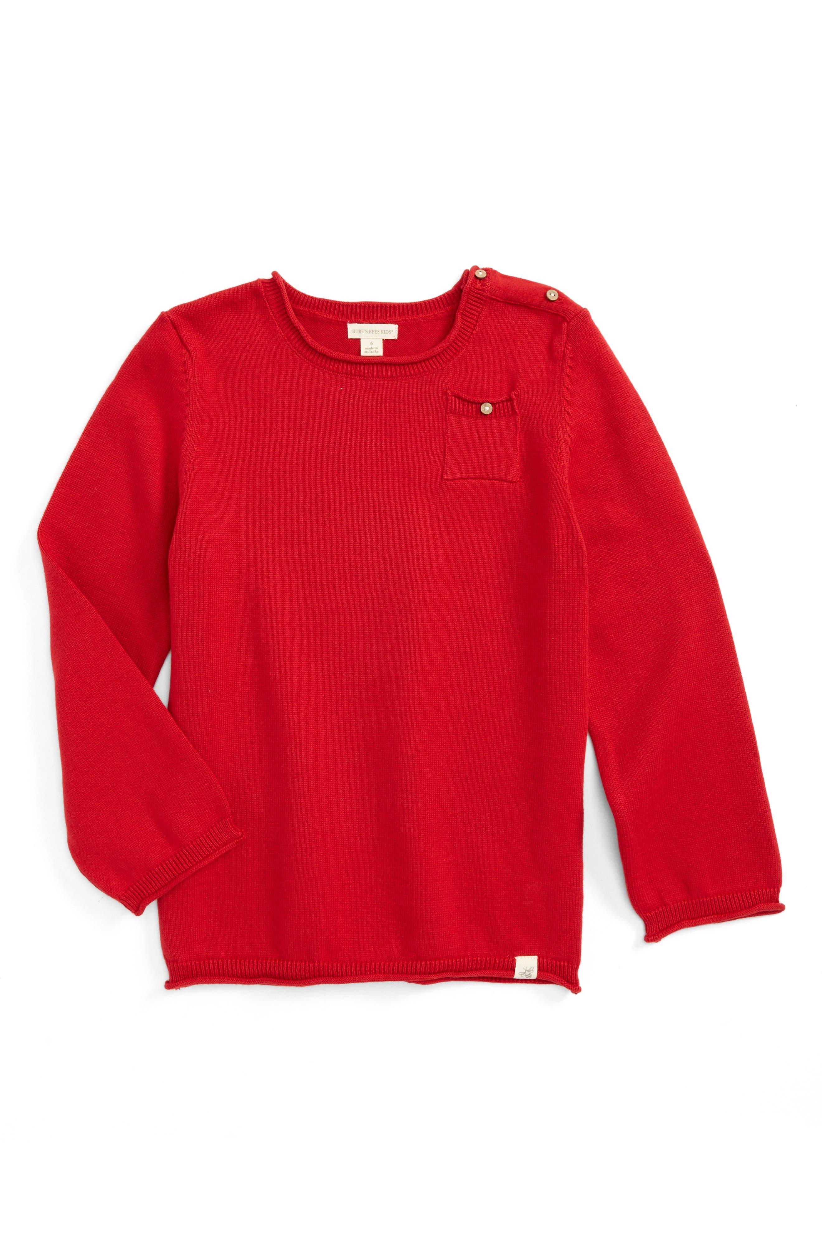 Main Image - Burt's Bees Baby Pocket Organic Cotton Sweater (Toddler Boys & Big Boys)