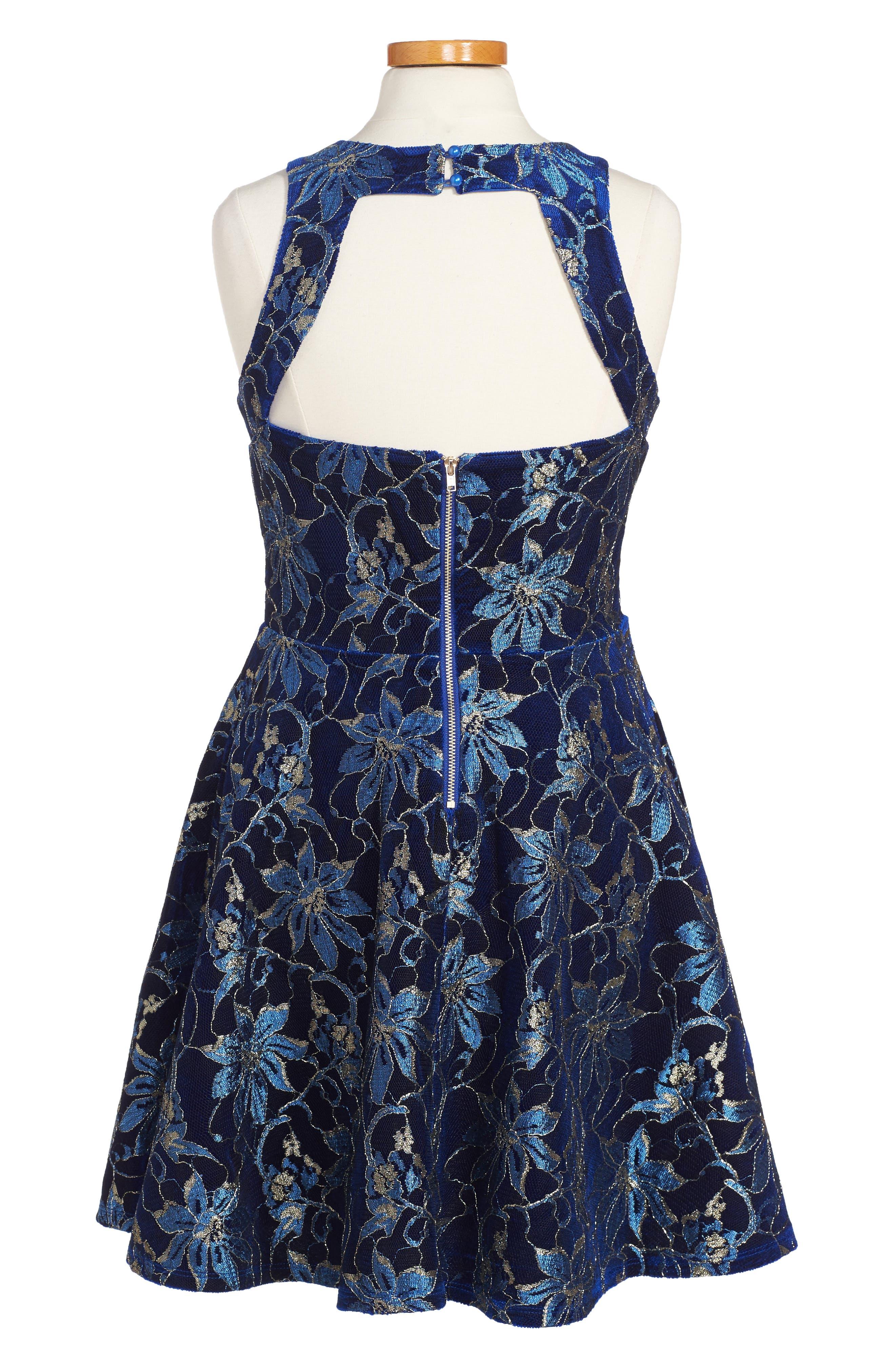 Heather Floral Mesh Dress,                             Alternate thumbnail 2, color,                             Royal Blue