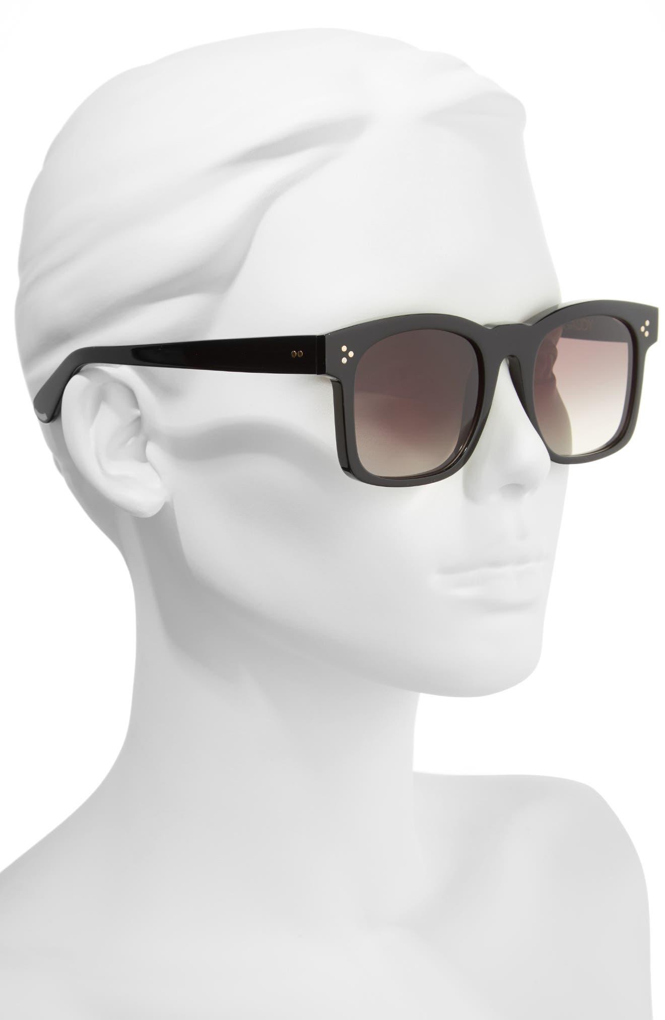 Gaudy Zero 51mm Flat Square Sunglasses,                             Alternate thumbnail 3, color,                             Black