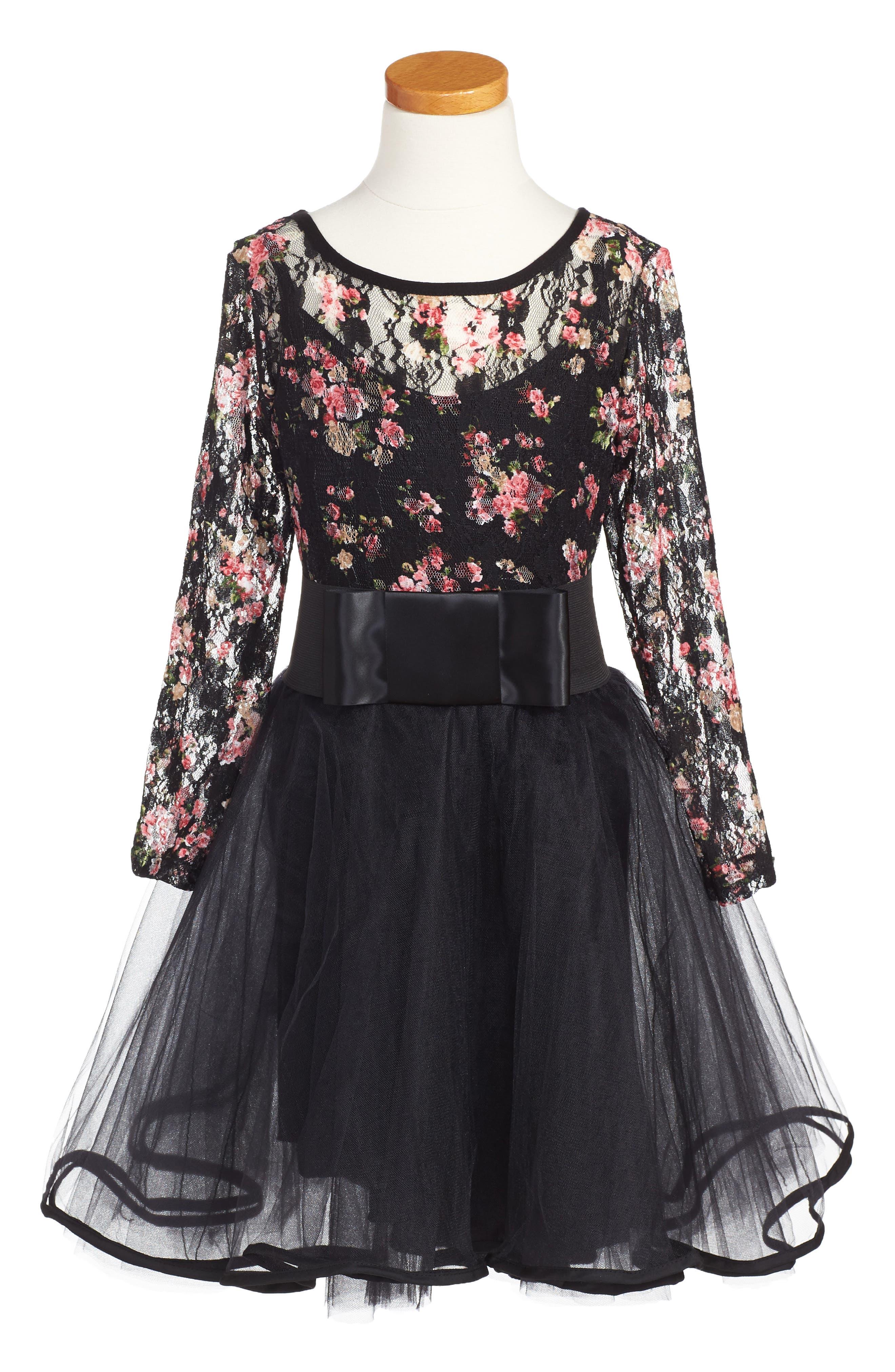 Olivia's Garden Party Dress,                         Main,                         color, Black