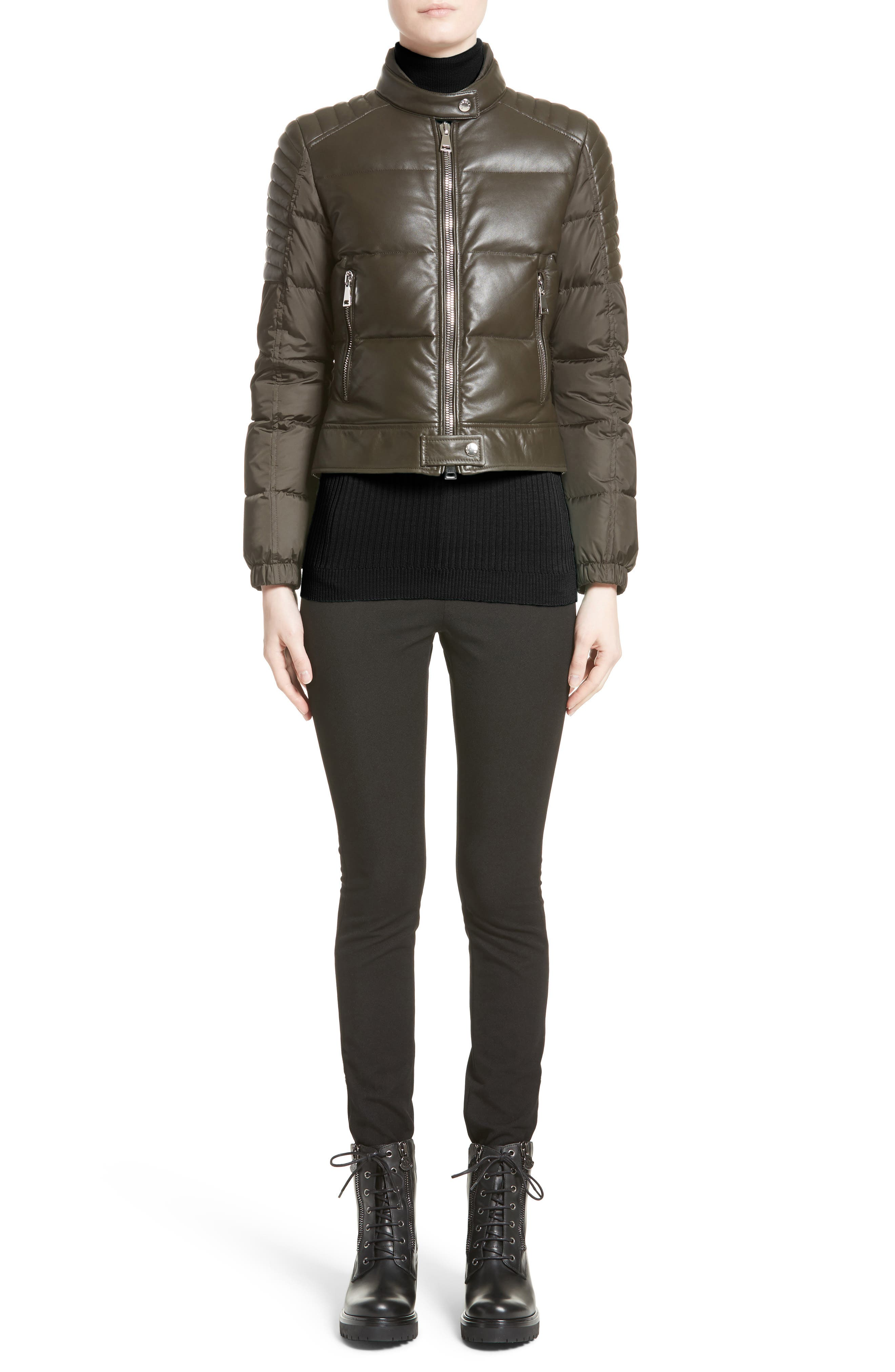 Clematis Leather Trim Down Puffer Jacket,                             Alternate thumbnail 5, color,                             Olive