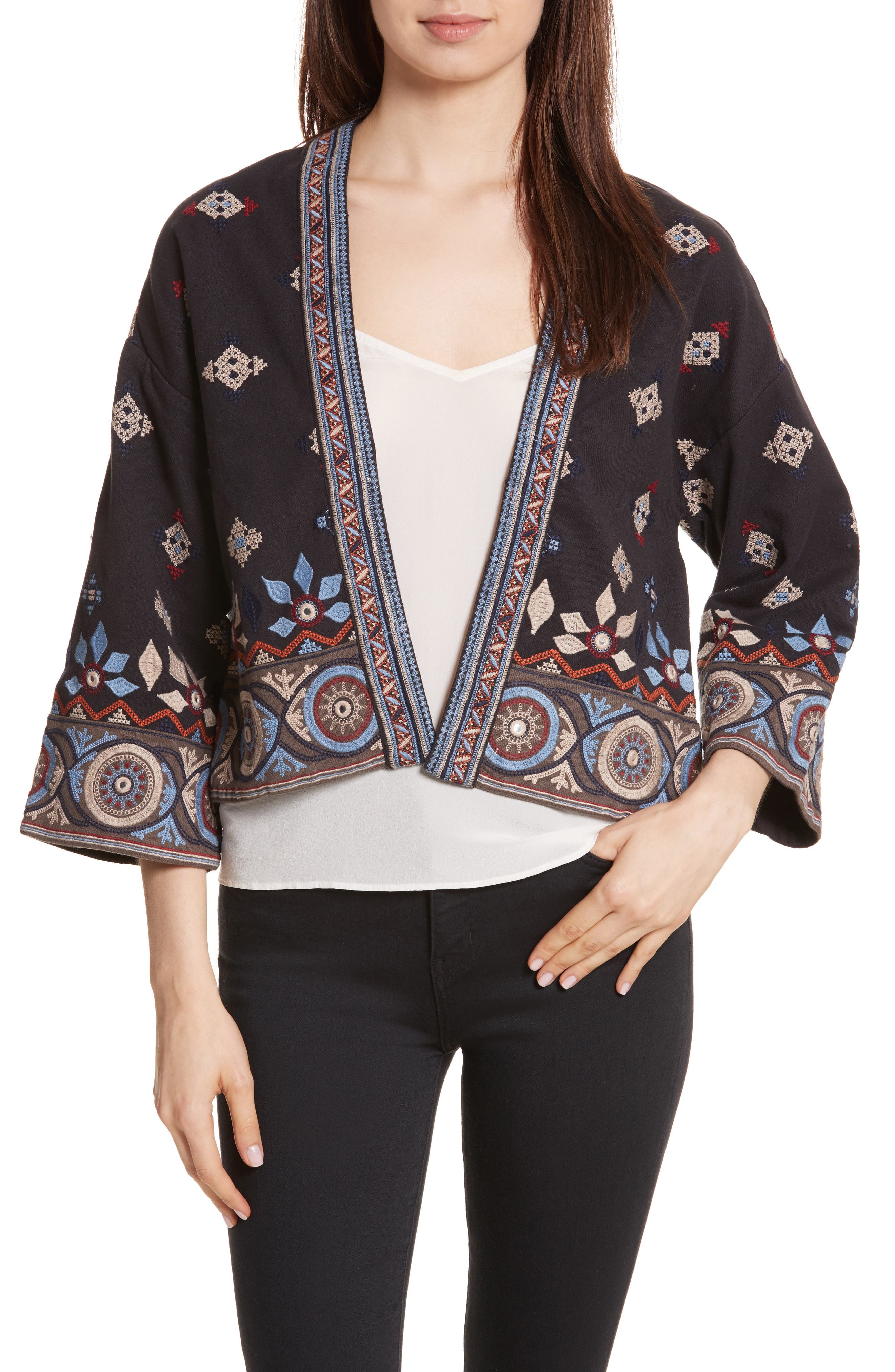 Brianny Embroidered Cardigan,                             Main thumbnail 1, color,                             Caviar
