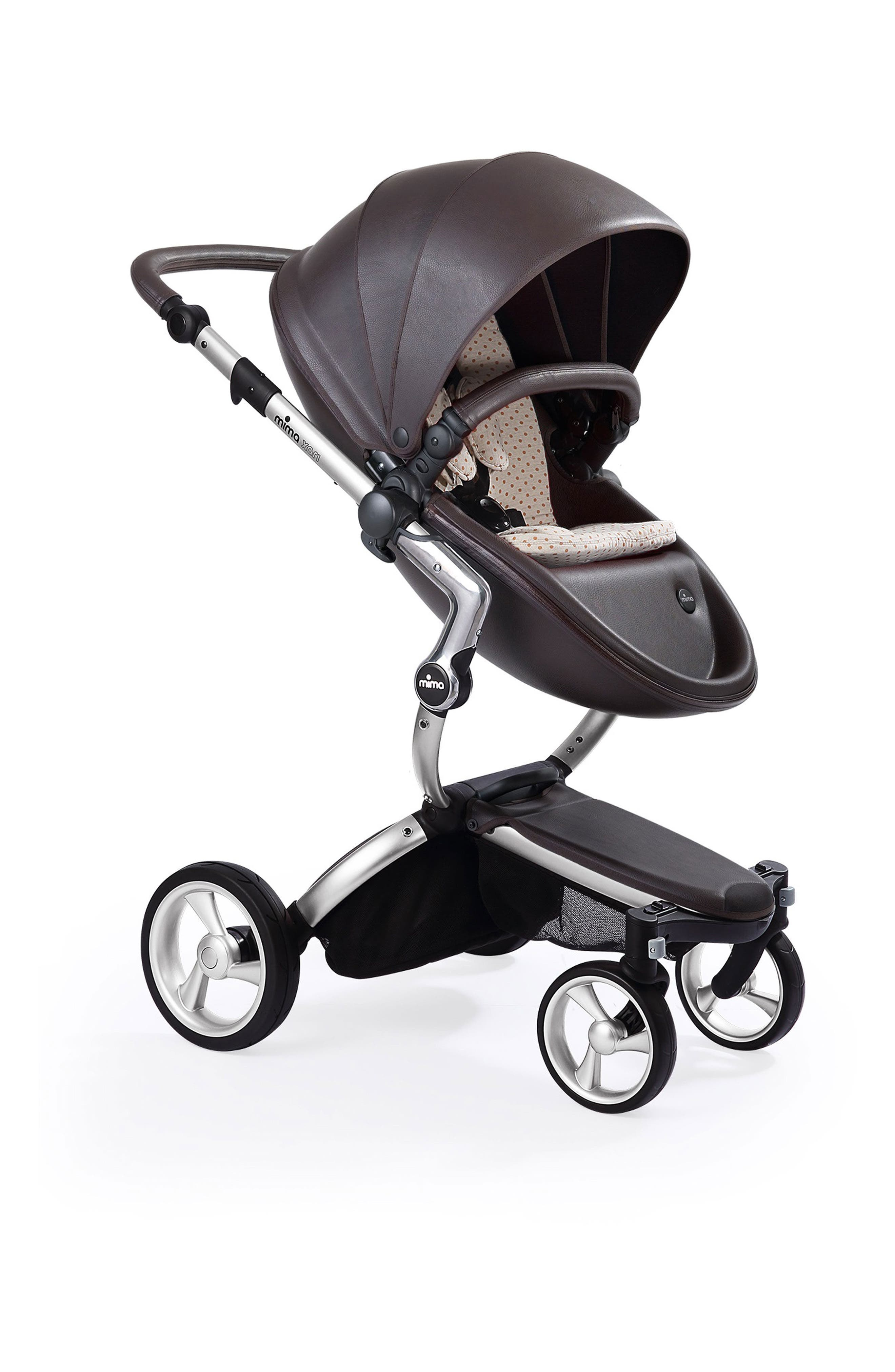 Xari Aluminum Chassis Stroller with Reversible Reclining Seat & Carrycot,                         Main,                         color, Aluminum/ Beige