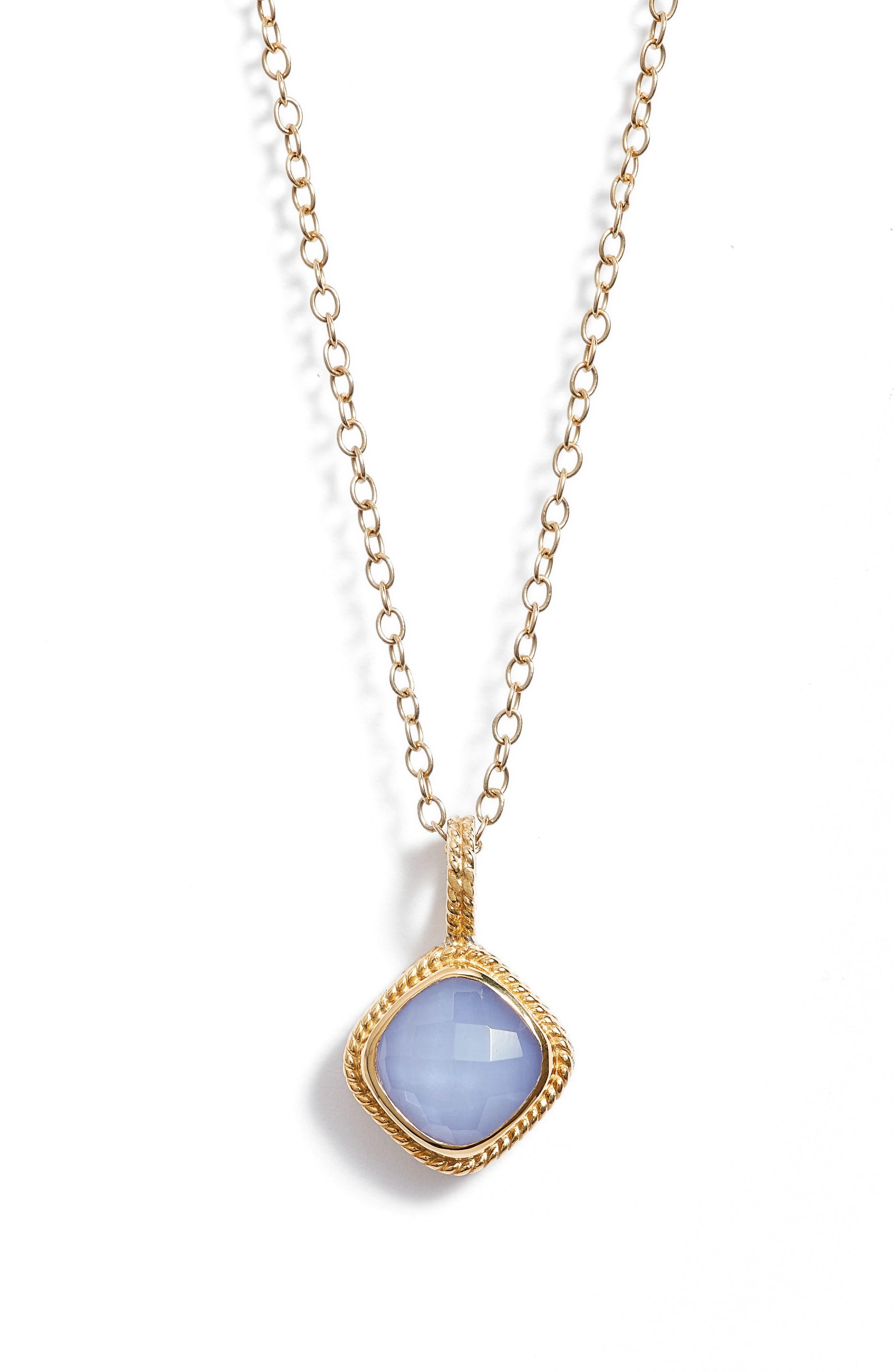 Semiprecious Stone Pendant Necklace,                         Main,                         color, Gold/ Blue Chalcedony