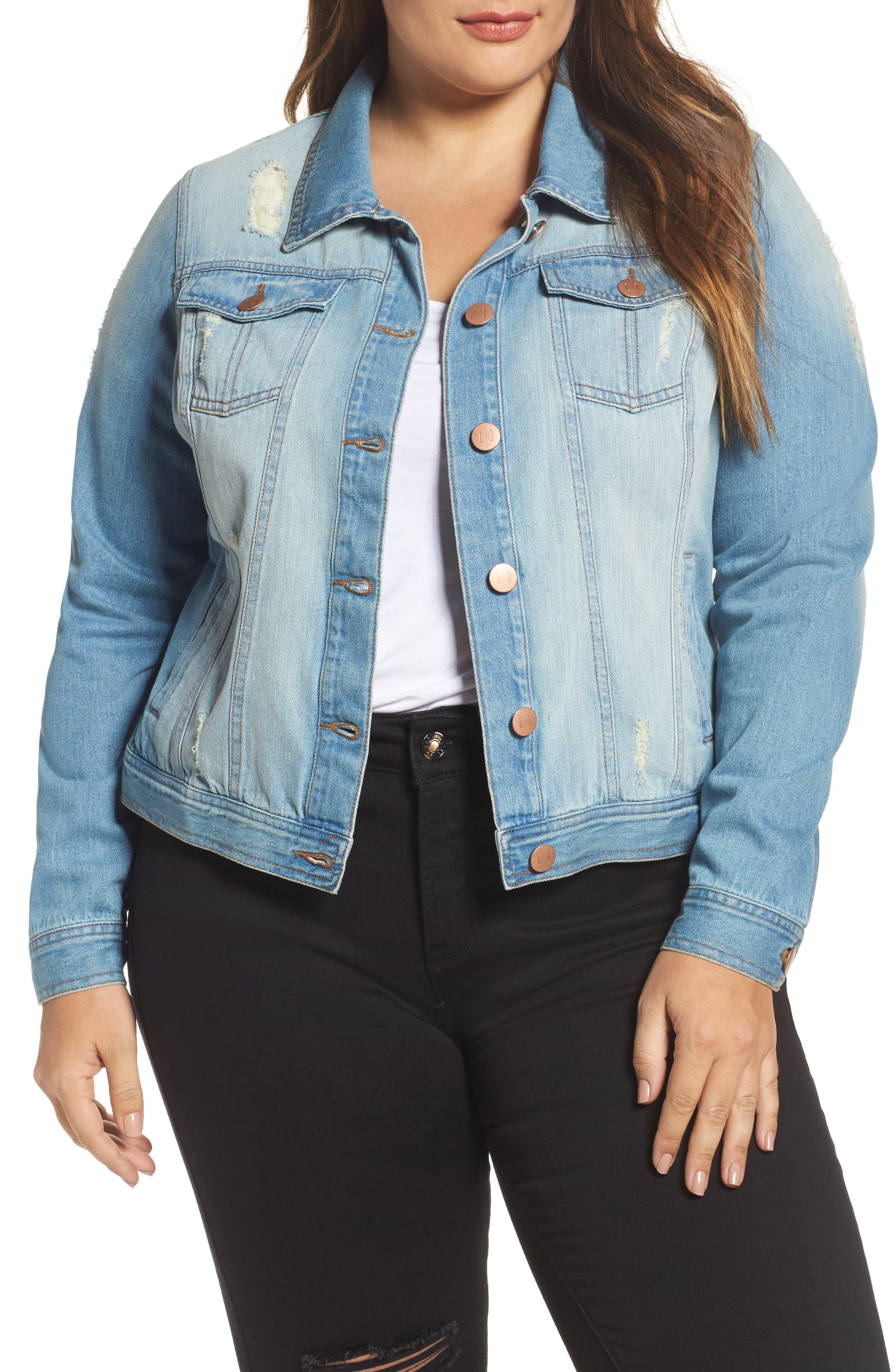 Alternate Image 1 Selected - JUNAROSE Mikara Denim Jacket (Plus Size)