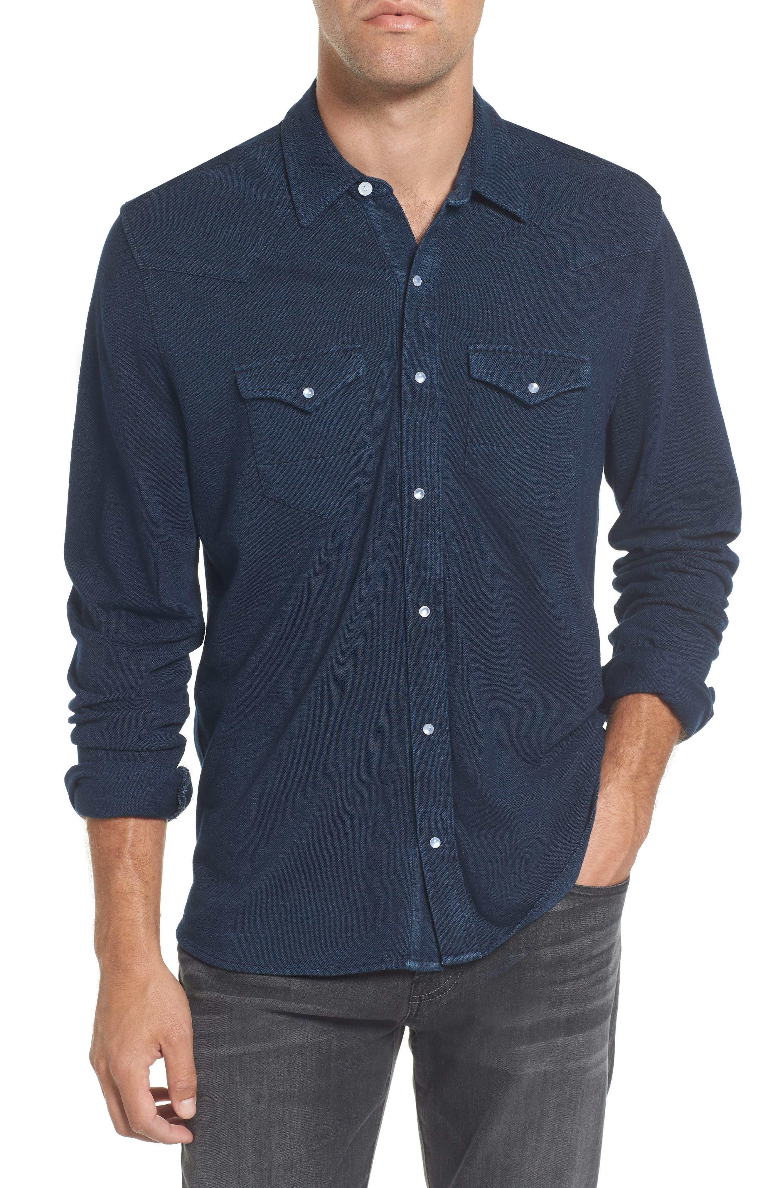 Indigo Piqué Knit Western Shirt,                         Main,                         color, Indigo